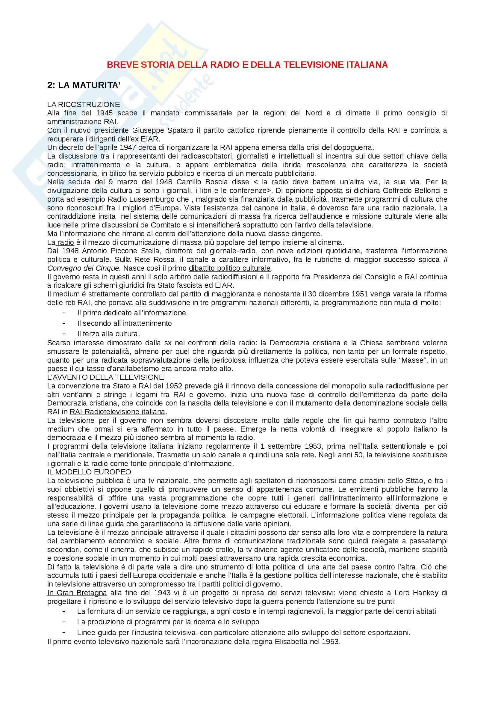 Riassunto esame della Storia della radio e della televisione, prof. Villani, libro consigliato Breve storia della radio e della televisione italiana