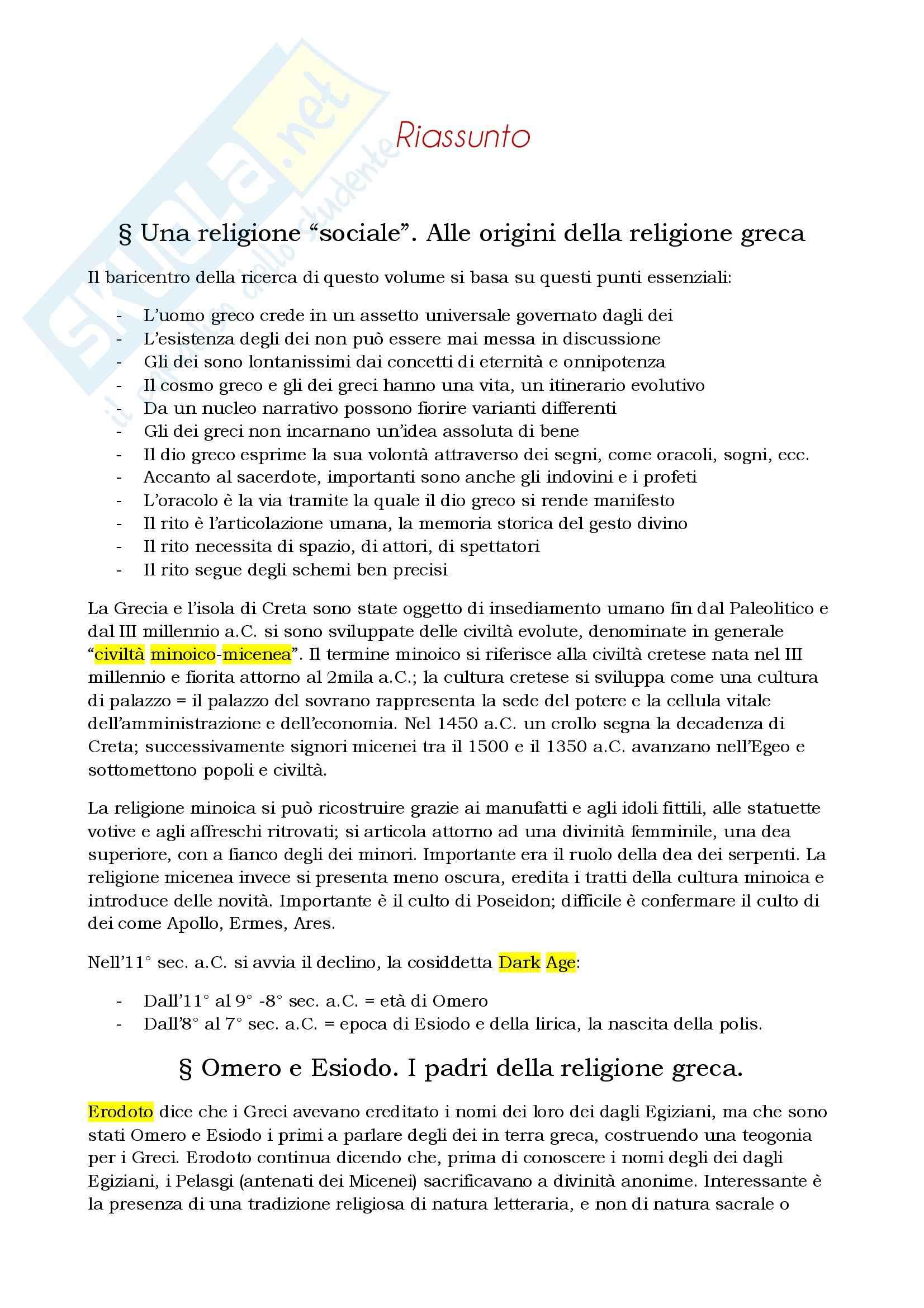 Riassunto esame Storia greca, prof. Berlinzani, libro consigliato Religione e società della Grecia antica, Schirripa