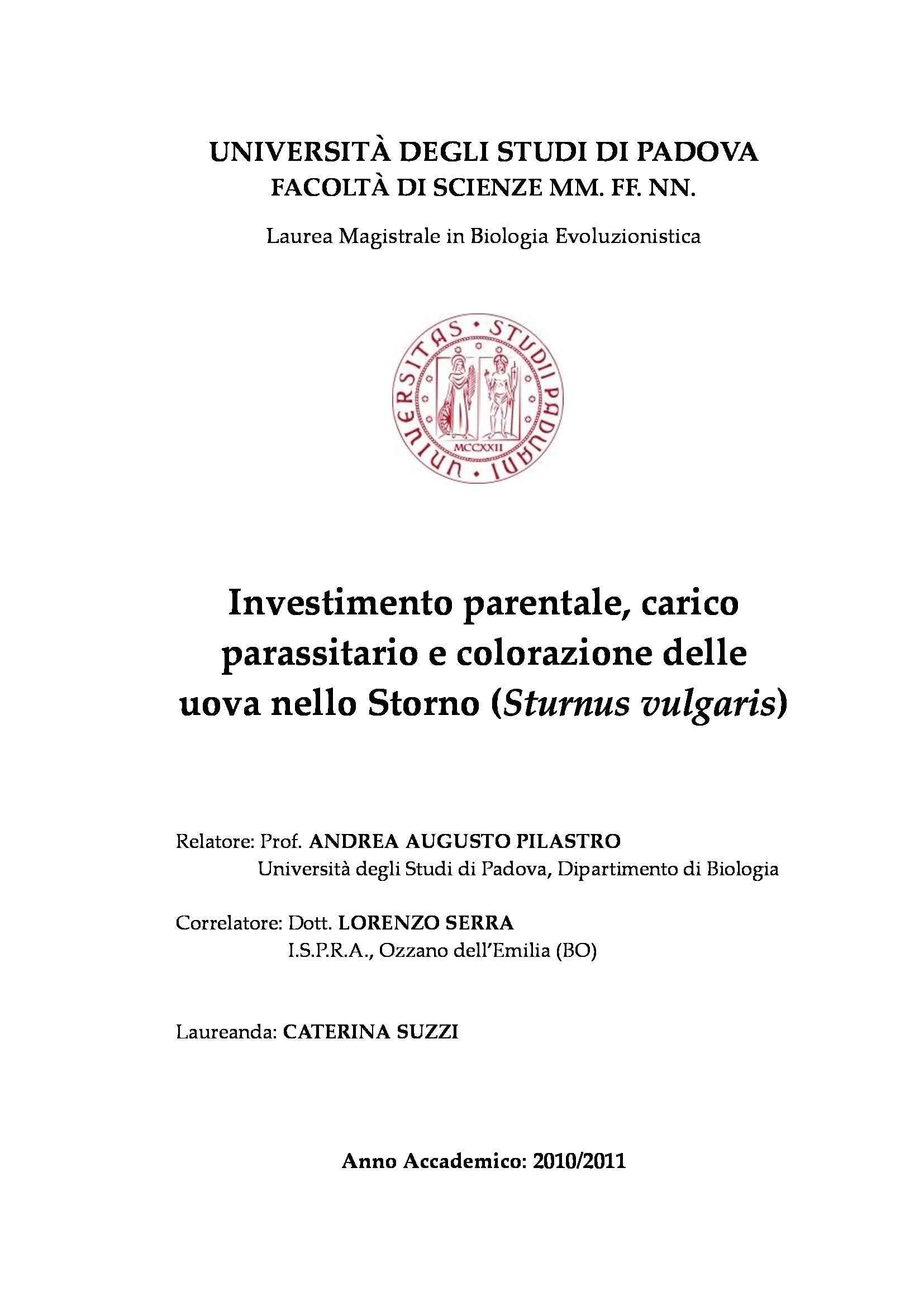Tesi - Investimento parentale, carico parassitario e colorazione delle uova nello Storno (Sturnus vulgaris)