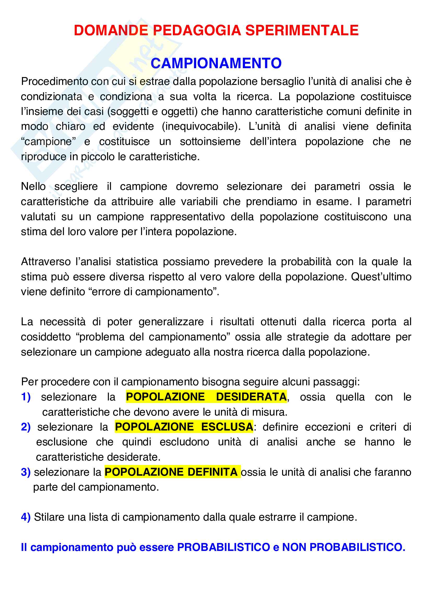 Riassunti dettagliati Esame Pedagogia sperimentale di Rossella D'Ugo Pag. 1