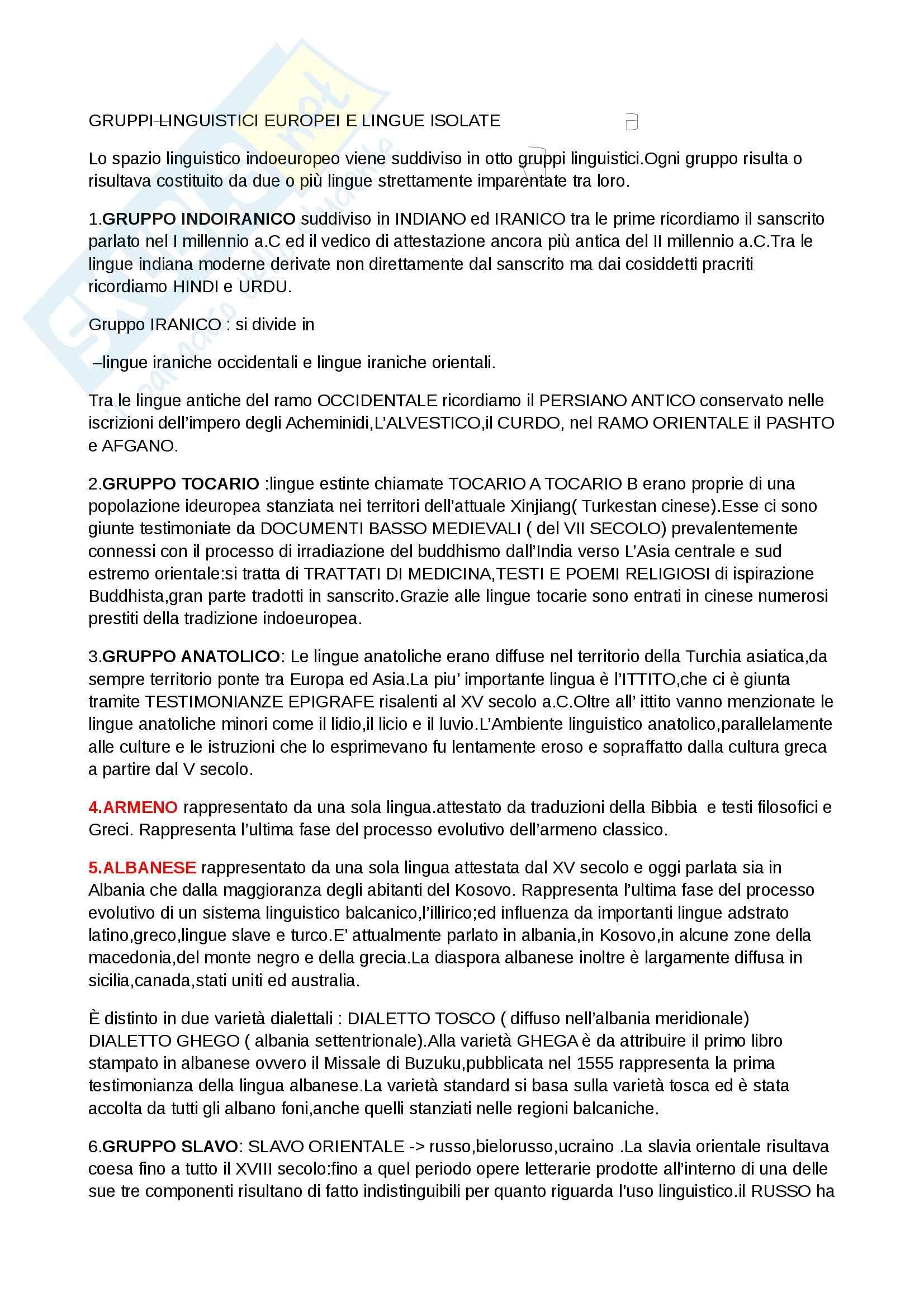 Riassunto esame Linguistica generale, prof. Scala, libro consigliato Lingue d'Europa di Banfi, Grandi