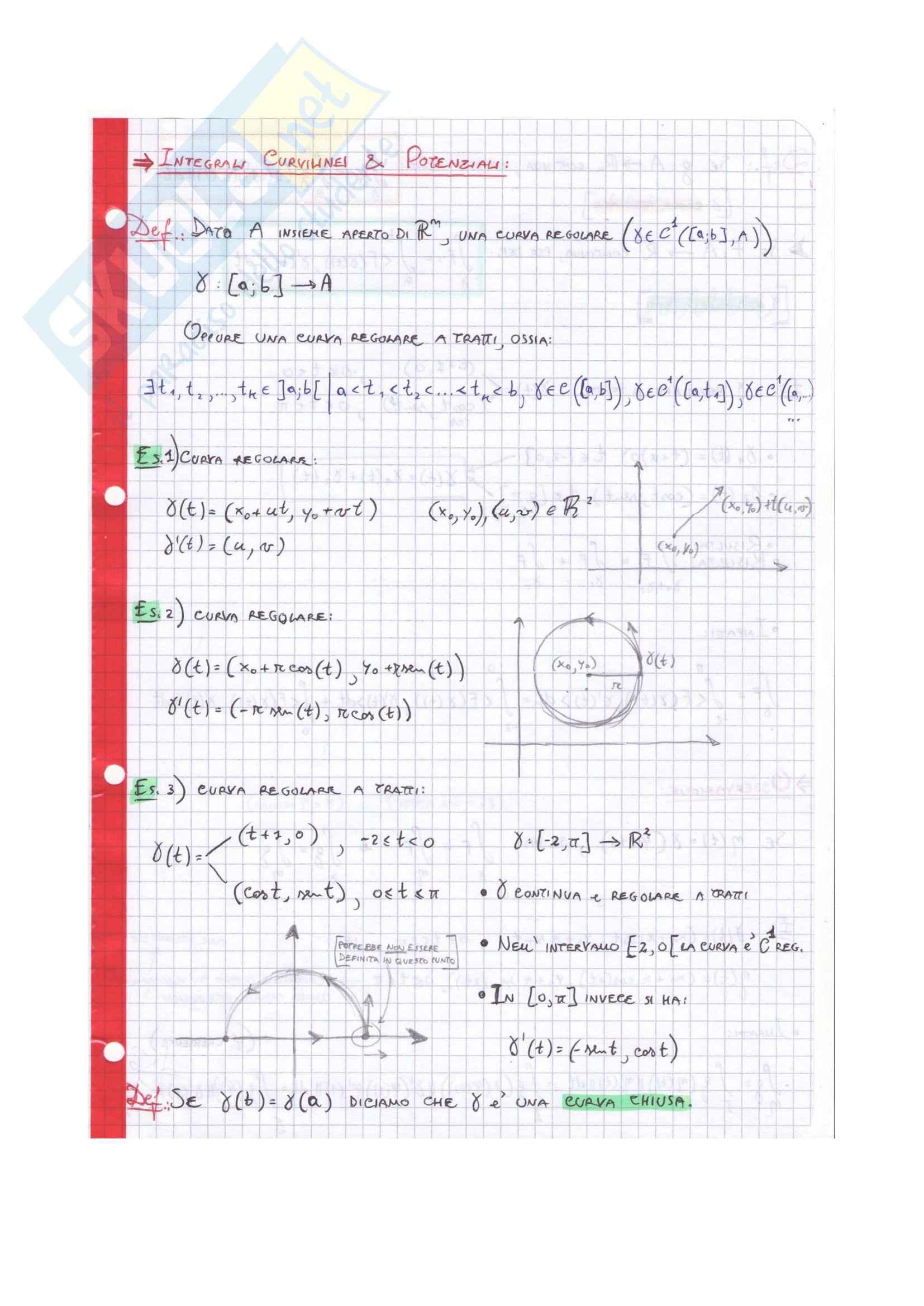 Complementi di analisi matematica per l'ingegneria informatica - Integrali curvilinei