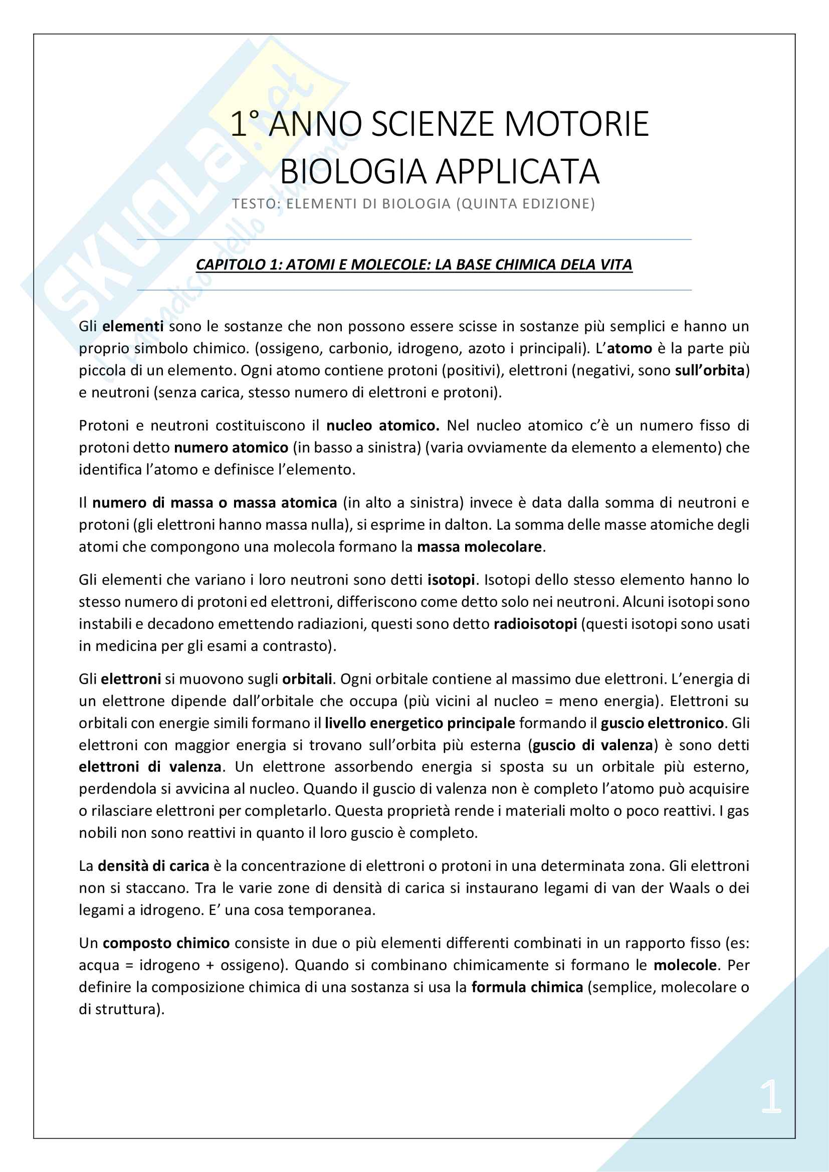 Biologia Applicata - 1° Anno Scienze Motorie