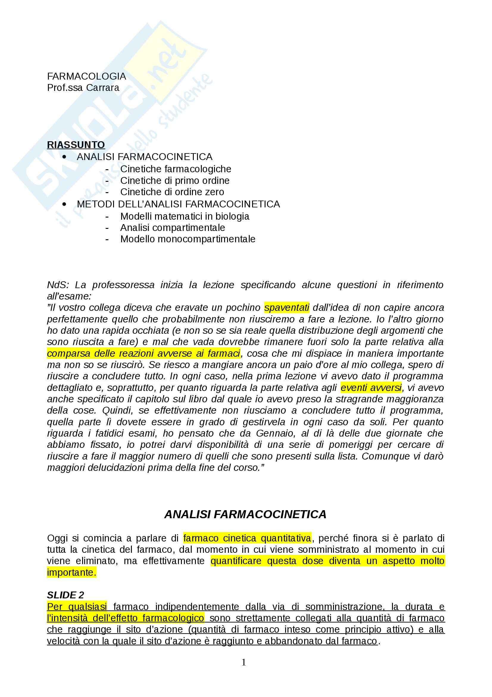 appunto M. Carrara Farmacologia