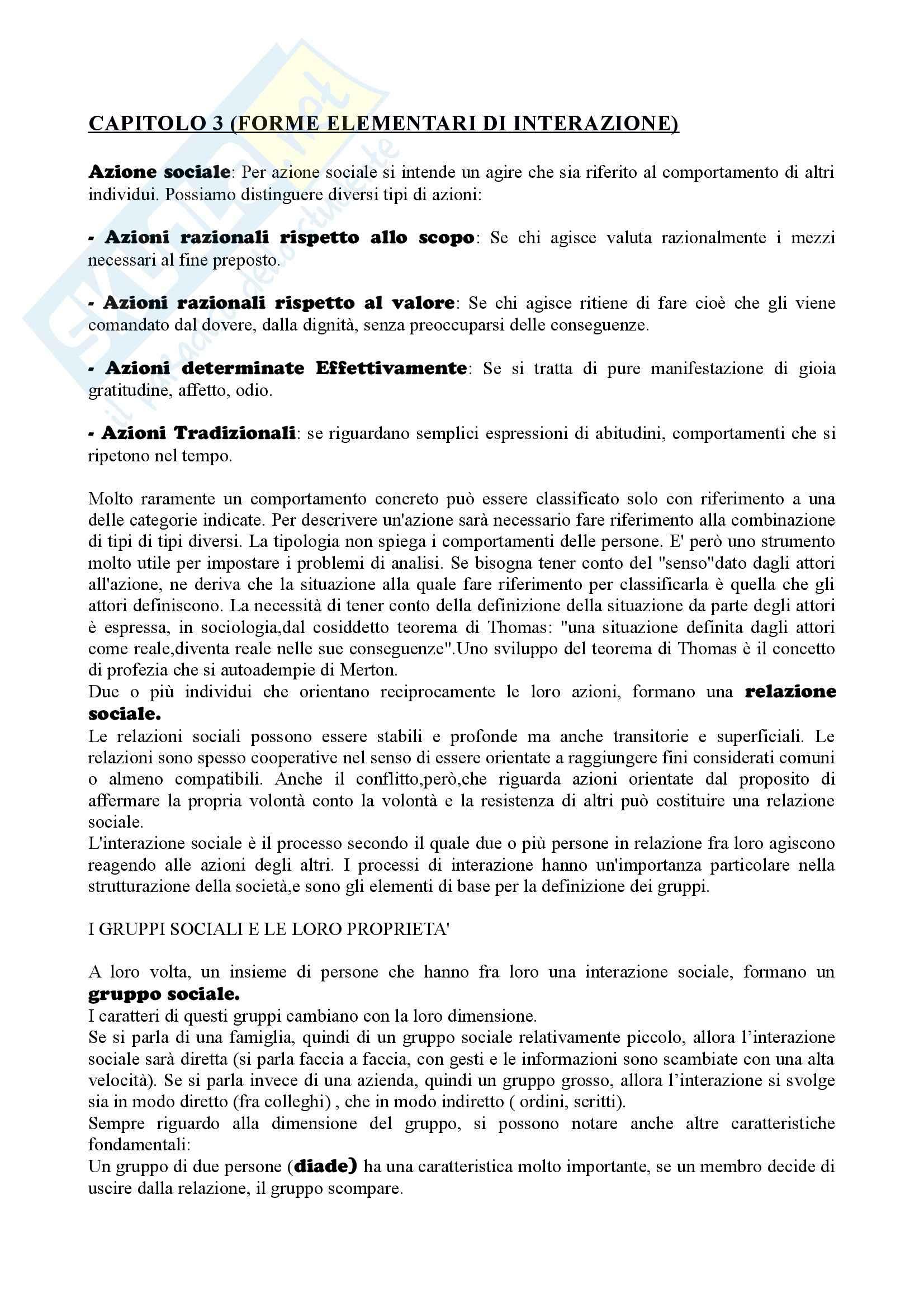 Riassunto esame sociologia generale, prof. Losito, libro consigliato Corso di sociologia, Bagnasco, Cavalli, Barbagli