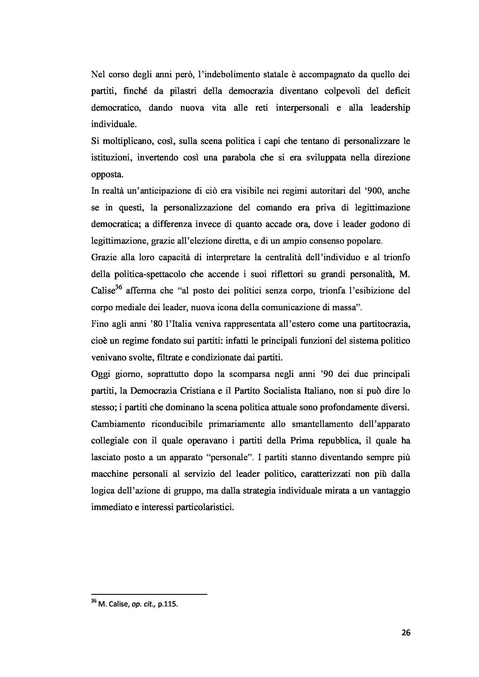 Tesi triennale - La personalizzazione e la spettacolarizzazione della politica Pag. 26