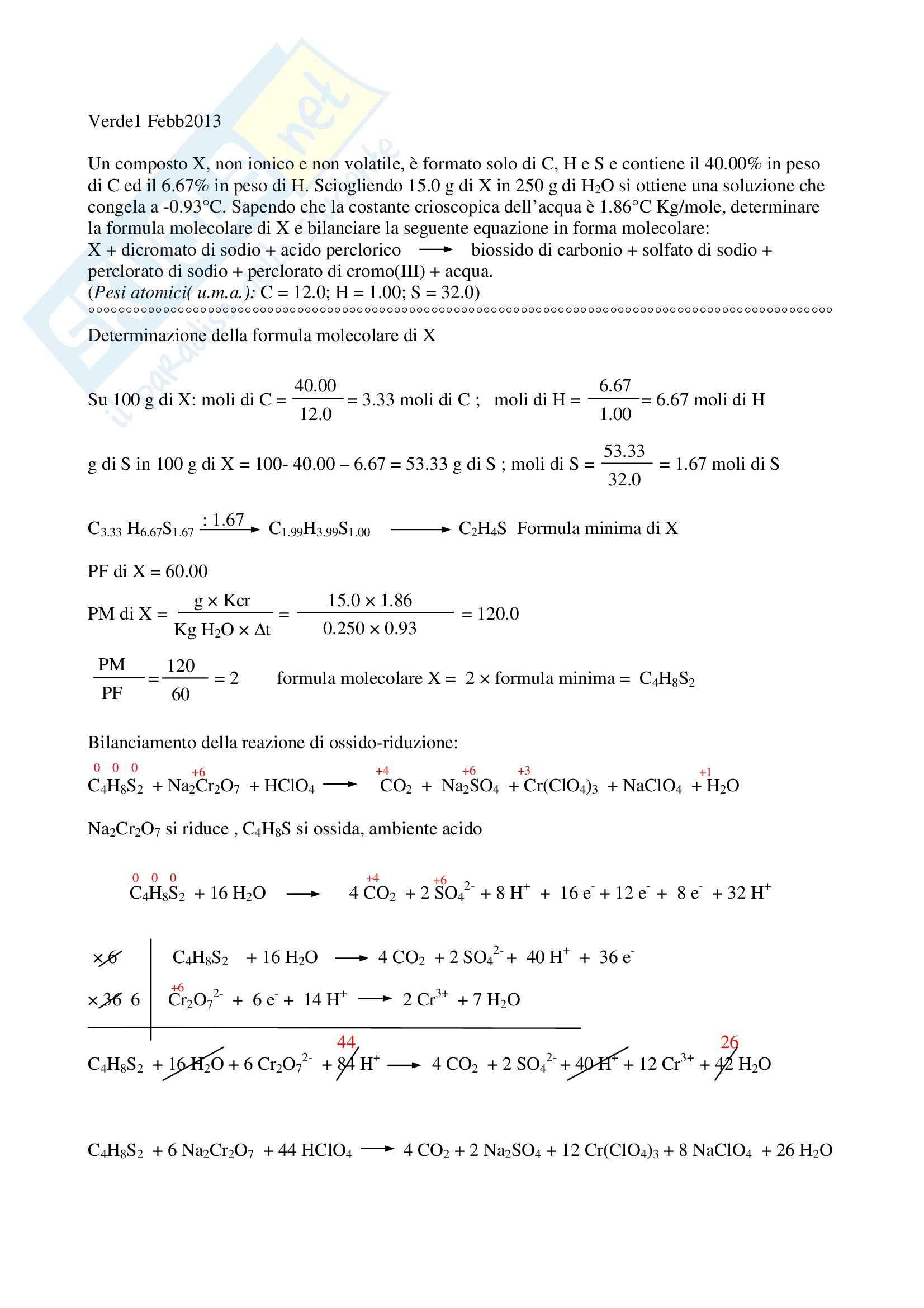 Esercizi d'esame Chimica inorganica CTF e Farmacia