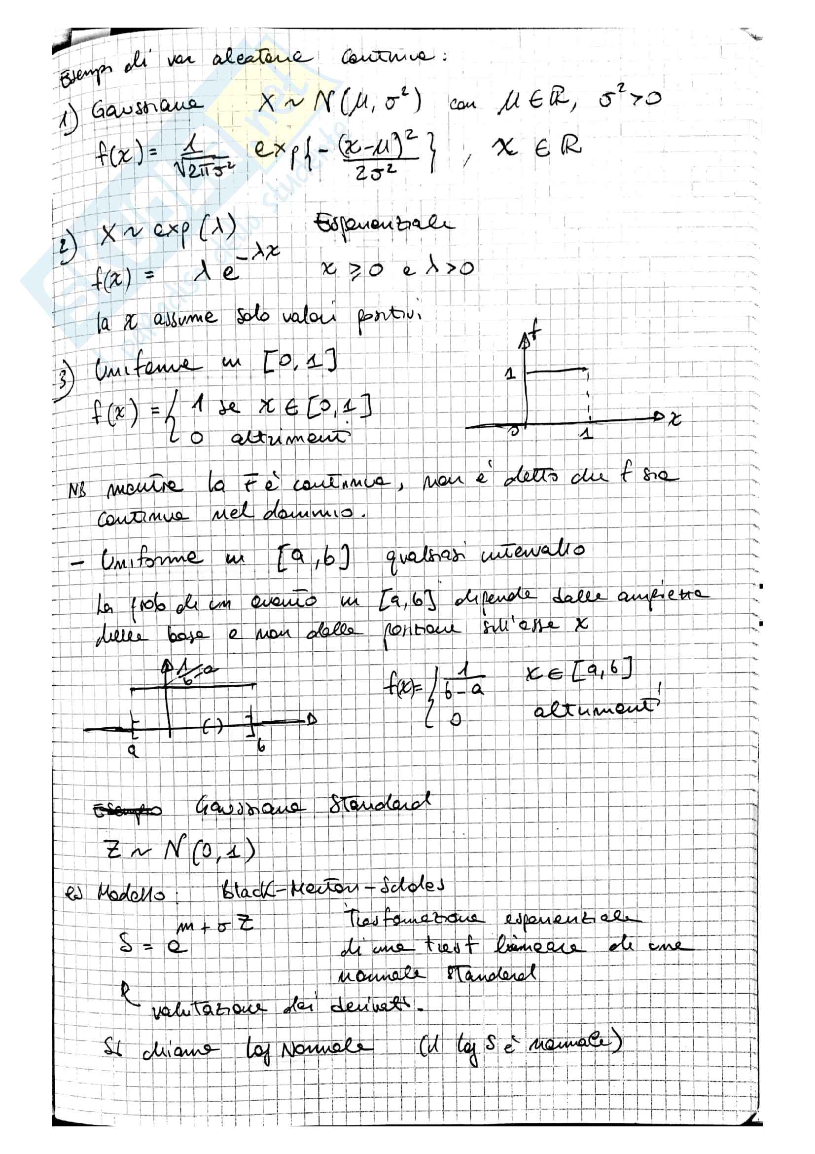 Lezioni Modelli Matematici per la Finanza, prof. Ramponi Pag. 16