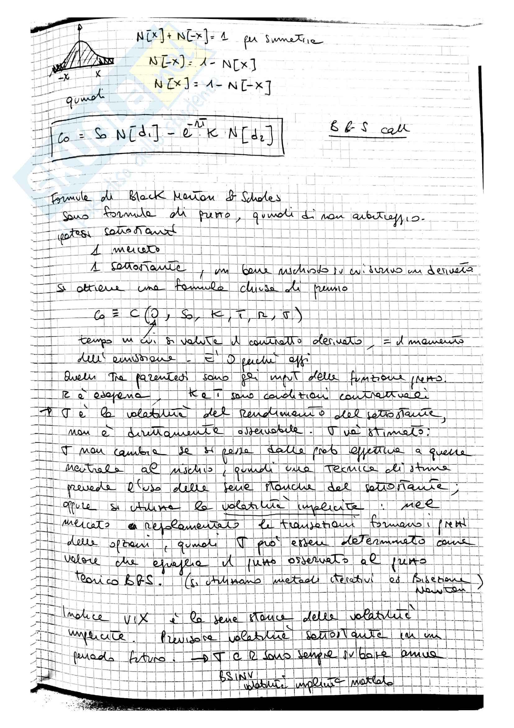 Lezioni Modelli Matematici per la Finanza, prof. Ramponi Pag. 66