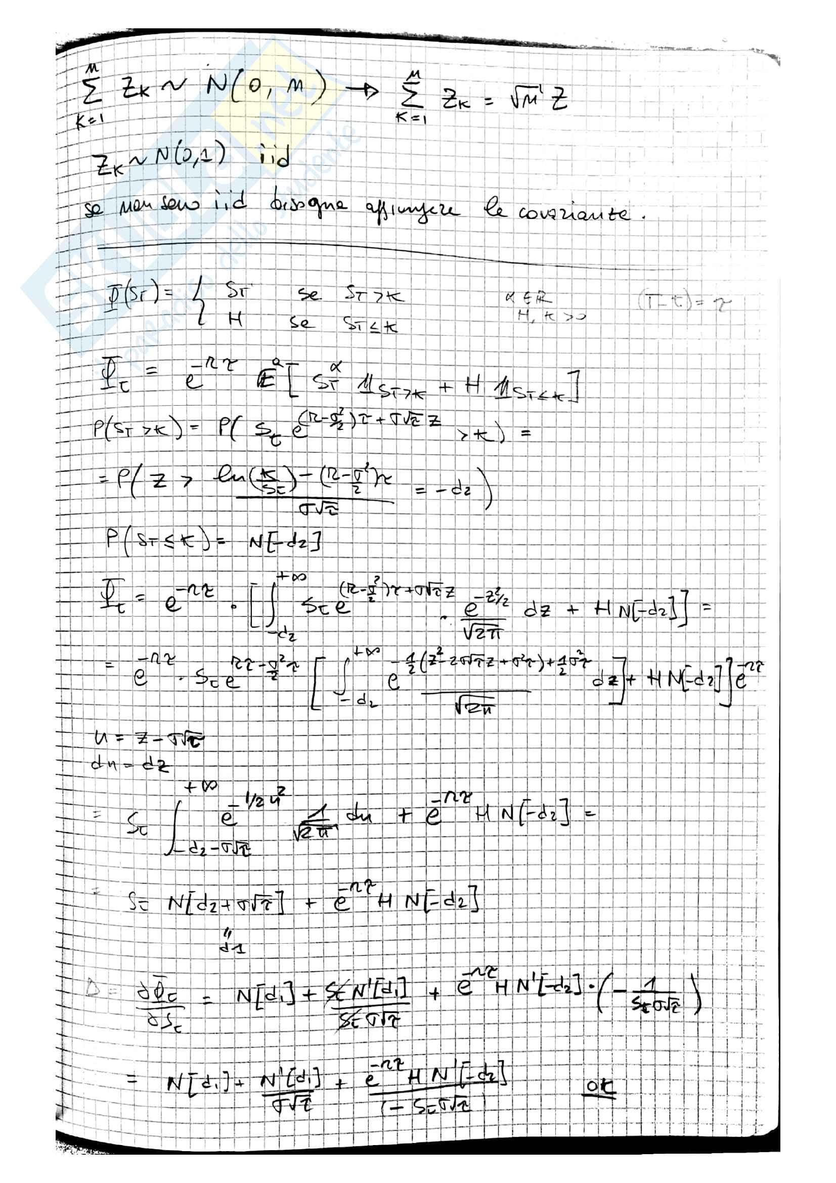 Lezioni Modelli Matematici per la Finanza, prof. Ramponi Pag. 76