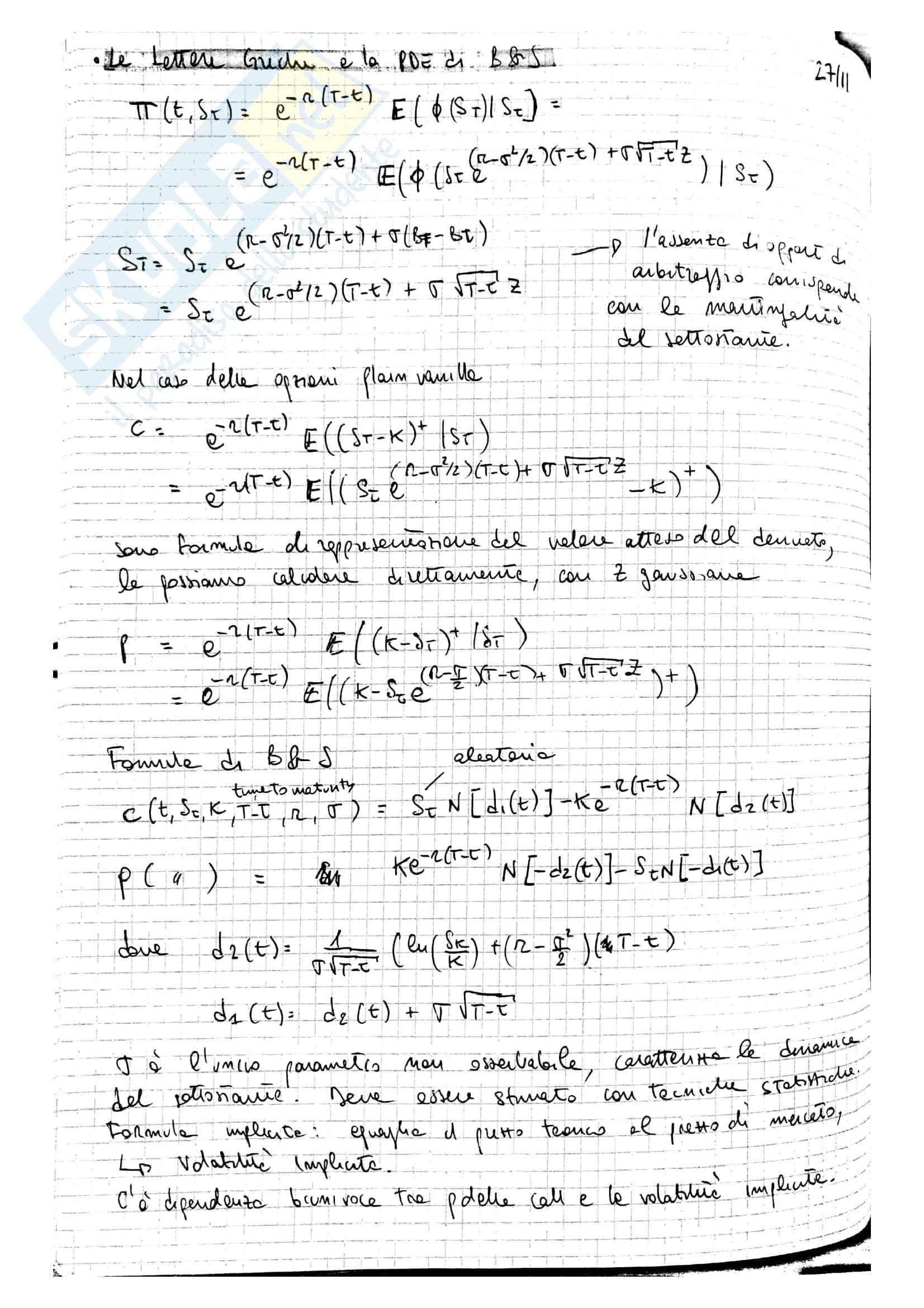 Lezioni Modelli Matematici per la Finanza, prof. Ramponi Pag. 86