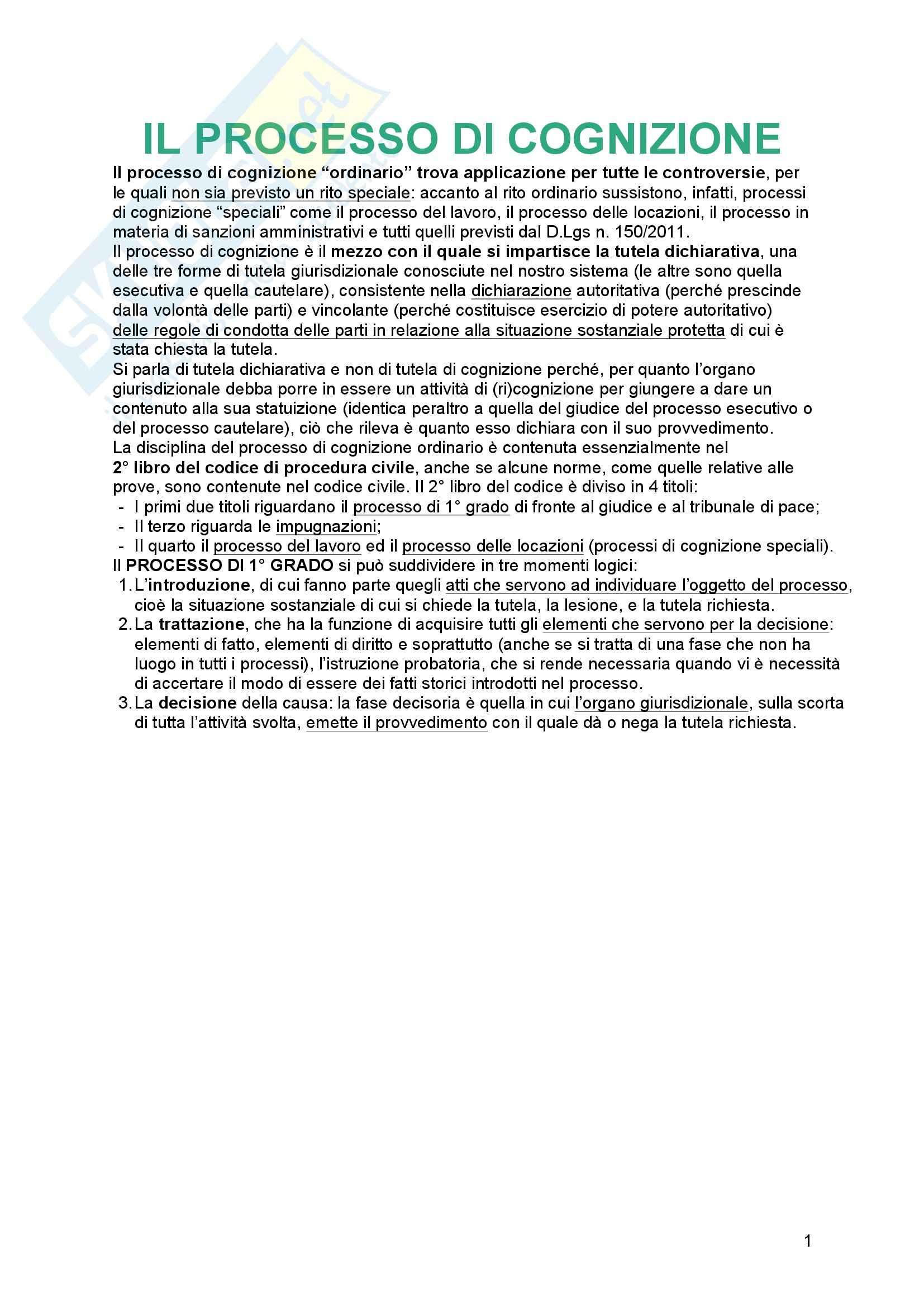 Riassunto esame Diritto processuale Civile, prof. Tedoldi, Il processo di cognizione, Vol. 2, Luiso