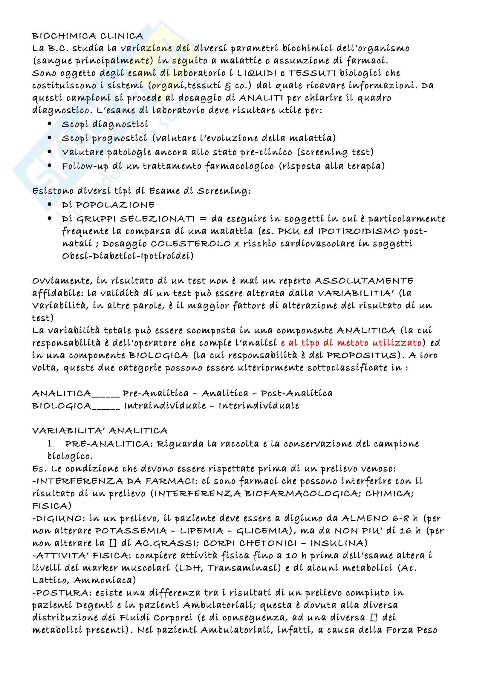 Biochimica clinica - Appunti