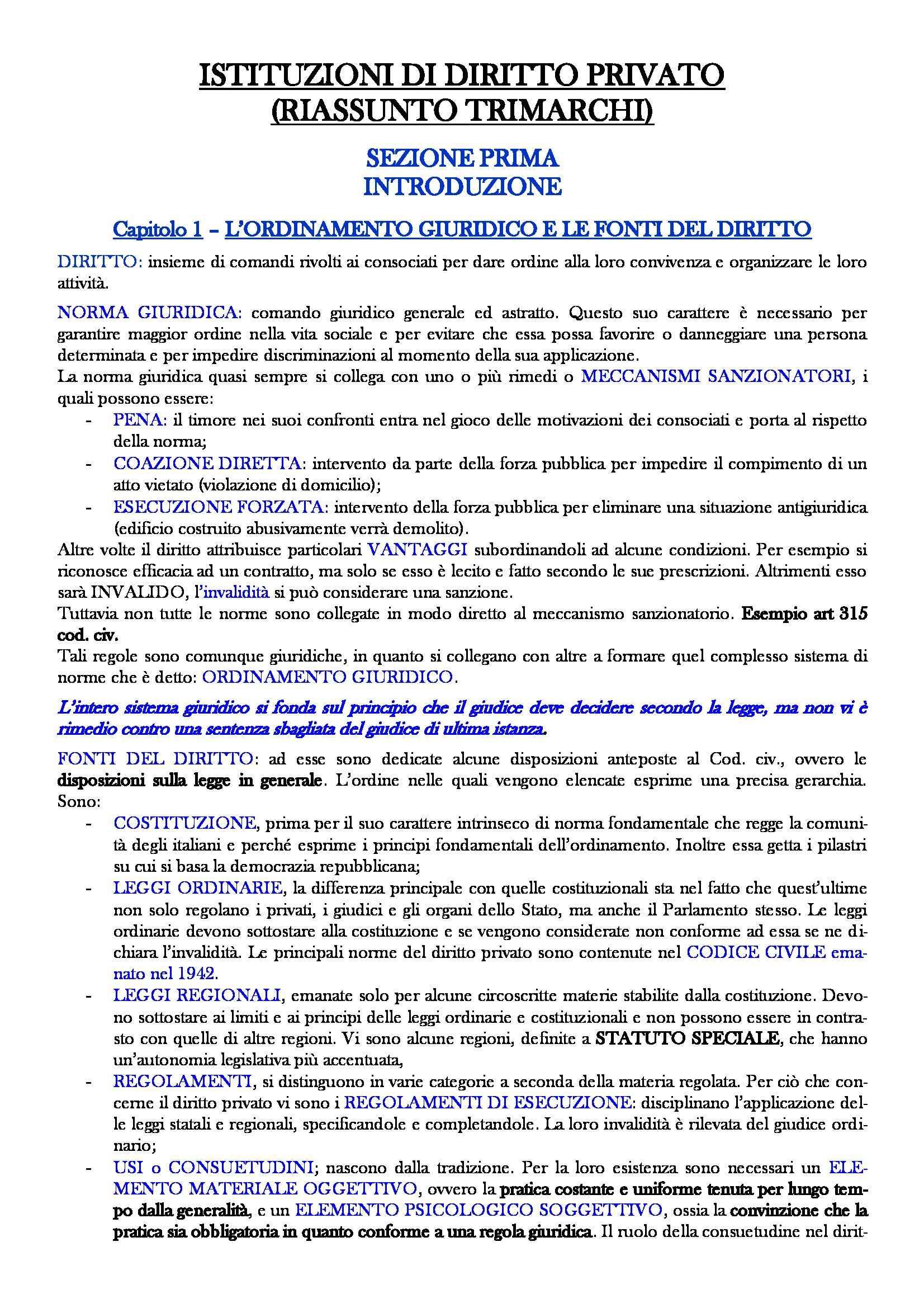 Riassunto esame Istituzioni di diritto privato, prof. Carnevali, libro consigliato Istituzioni di diritto privato, Trimarchi, 19 edizione
