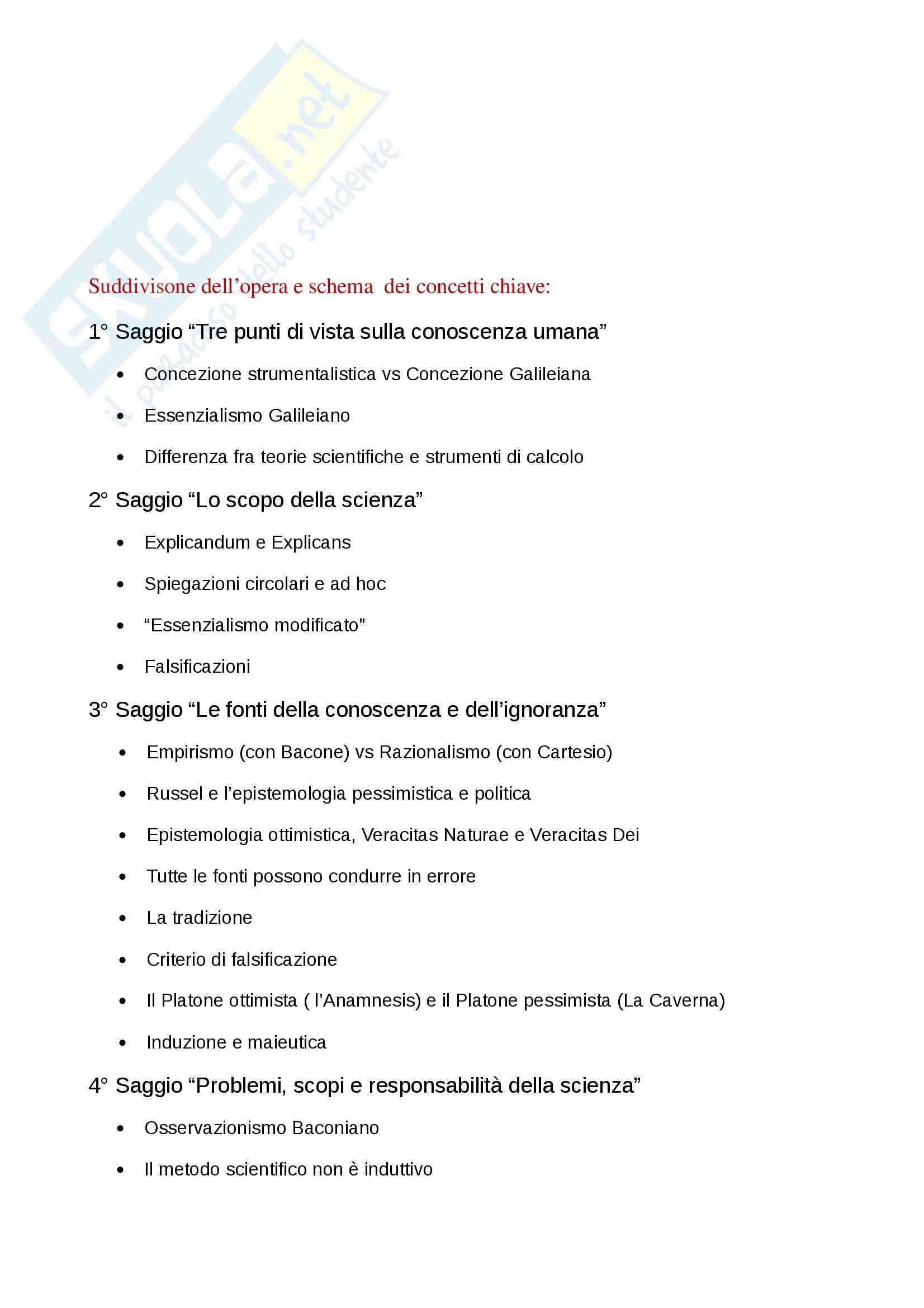Riassunto esame Filosofia della scienza, prof. Cataldi, libro consigliato Scienza e Filosofia, Popper