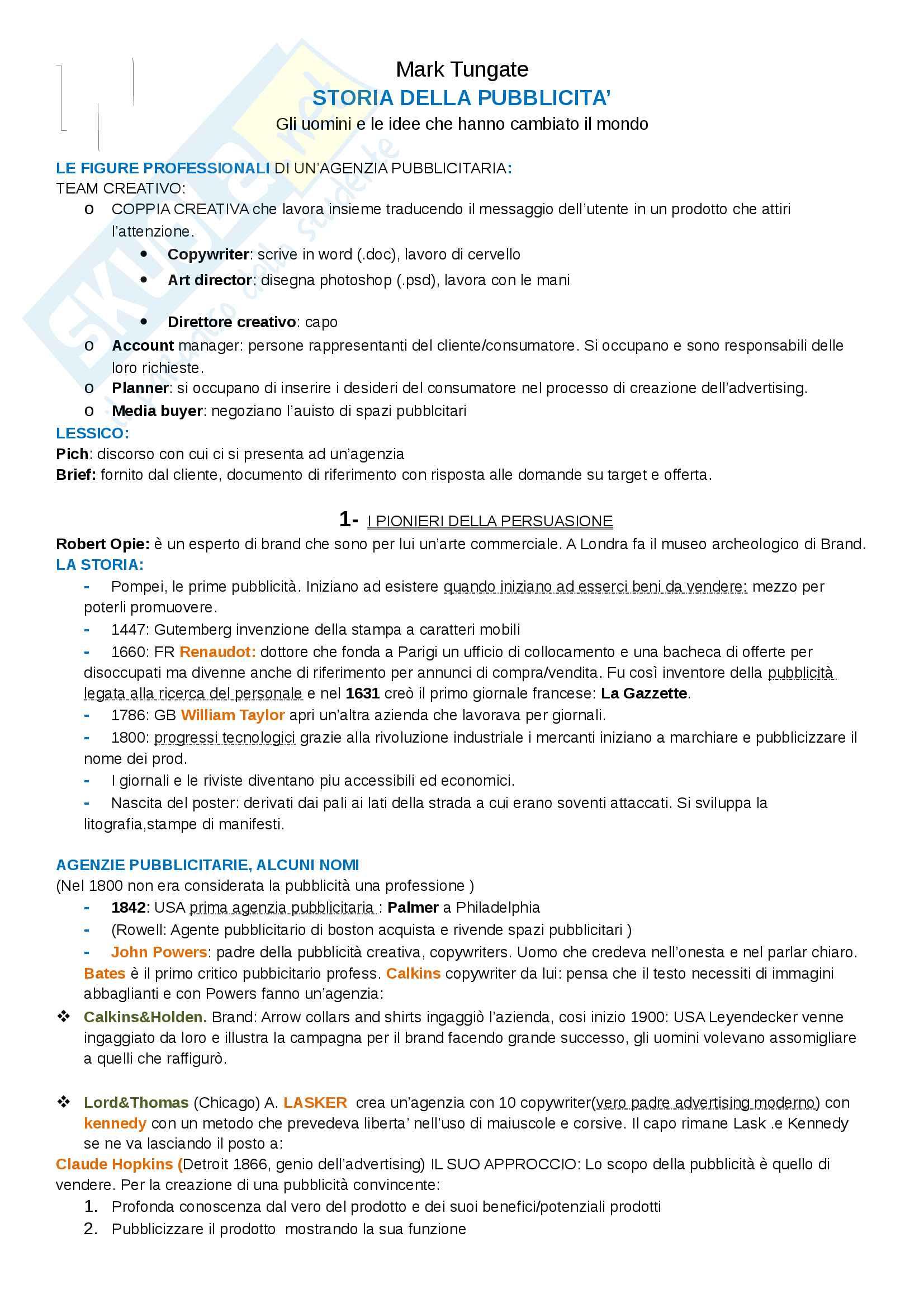 Riassunto esame linguaggi e strategie della comunicazione pubblicitaria, prof. Cornara, libro consigliato Storia della Pubblicità, Mark Tungate
