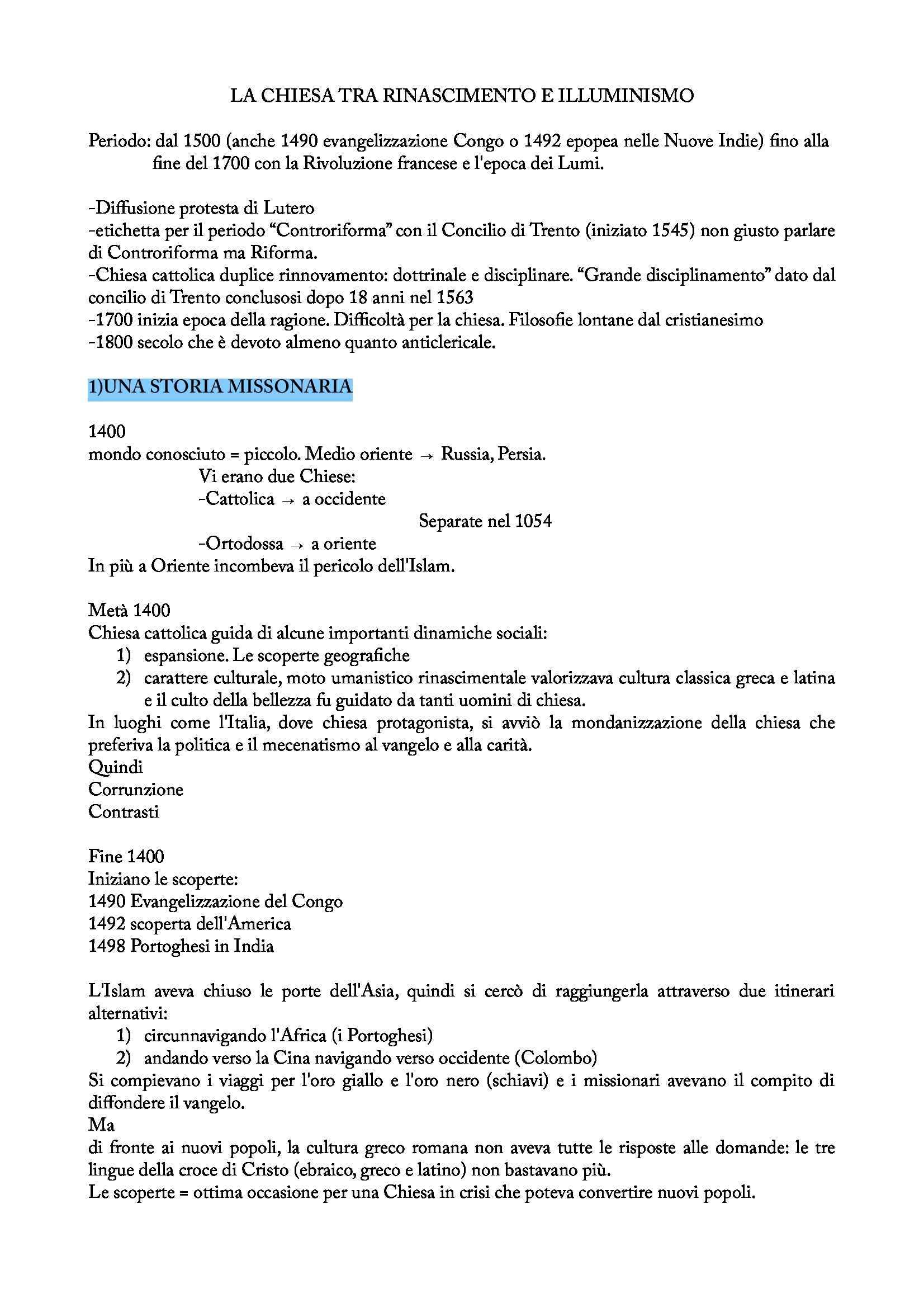 Riassunto esame Storia della Chiesa: Chiesa tra Rinascimento e Illuminisimo, prof. Vismara