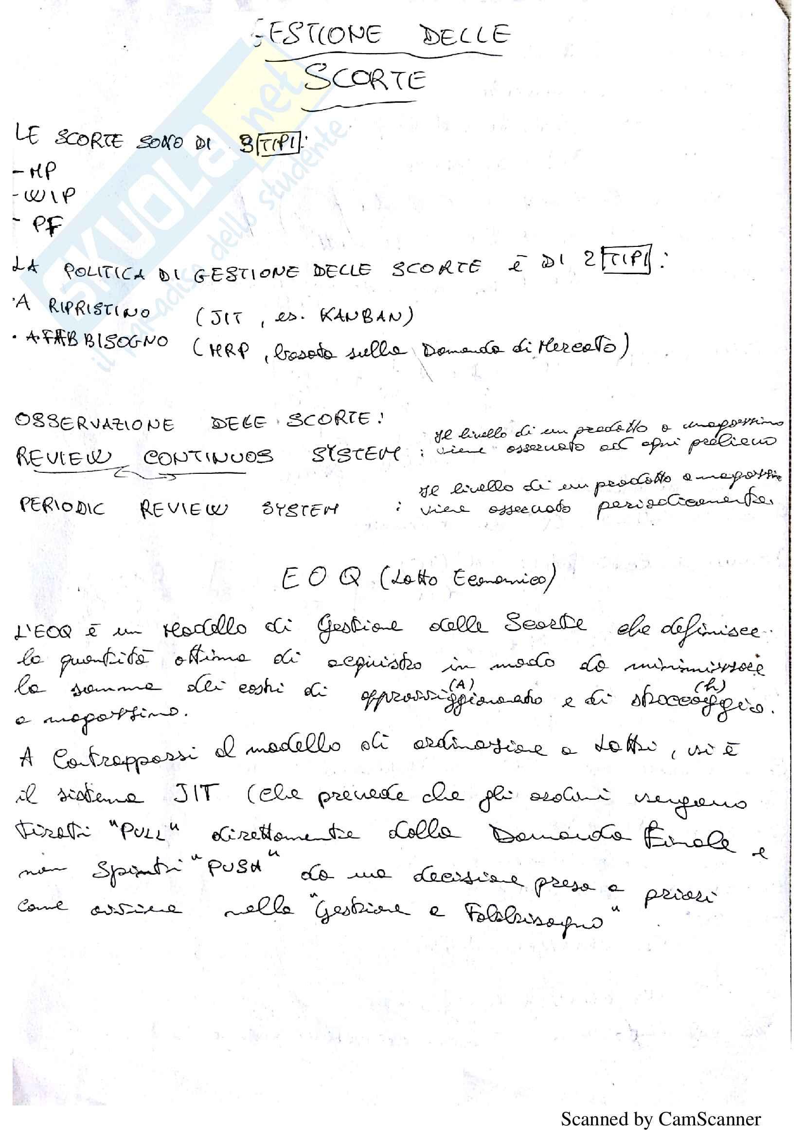 Programmazione e Gestione della Produzione P. Chiabert Appunti, Schemi riassuntivi, Esempi svolti