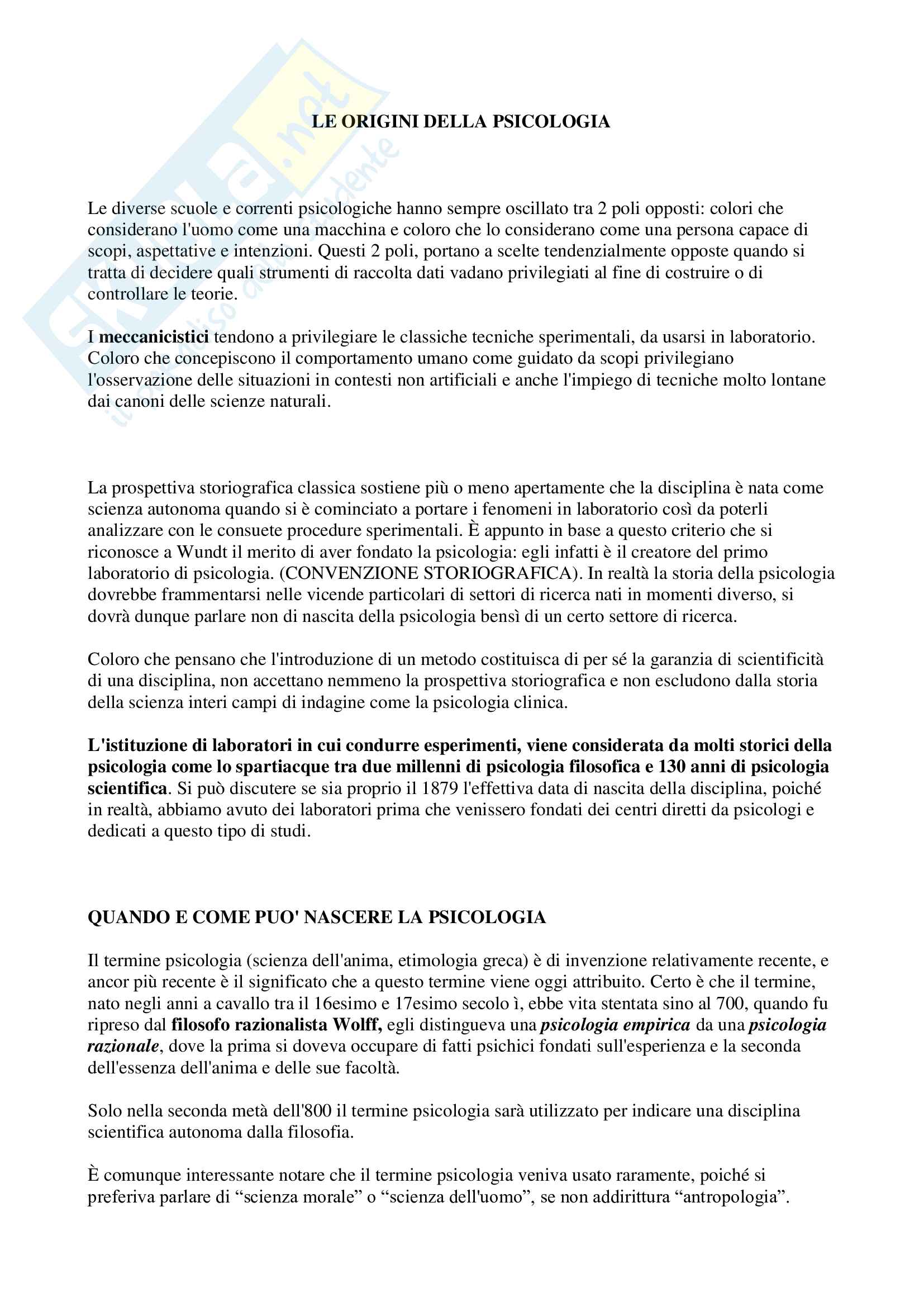 riassunto esame Storia della psicologia, Docente: Sava Gabriella, Libro consigliato: Storia della psicologia di Paolo Legrenzi