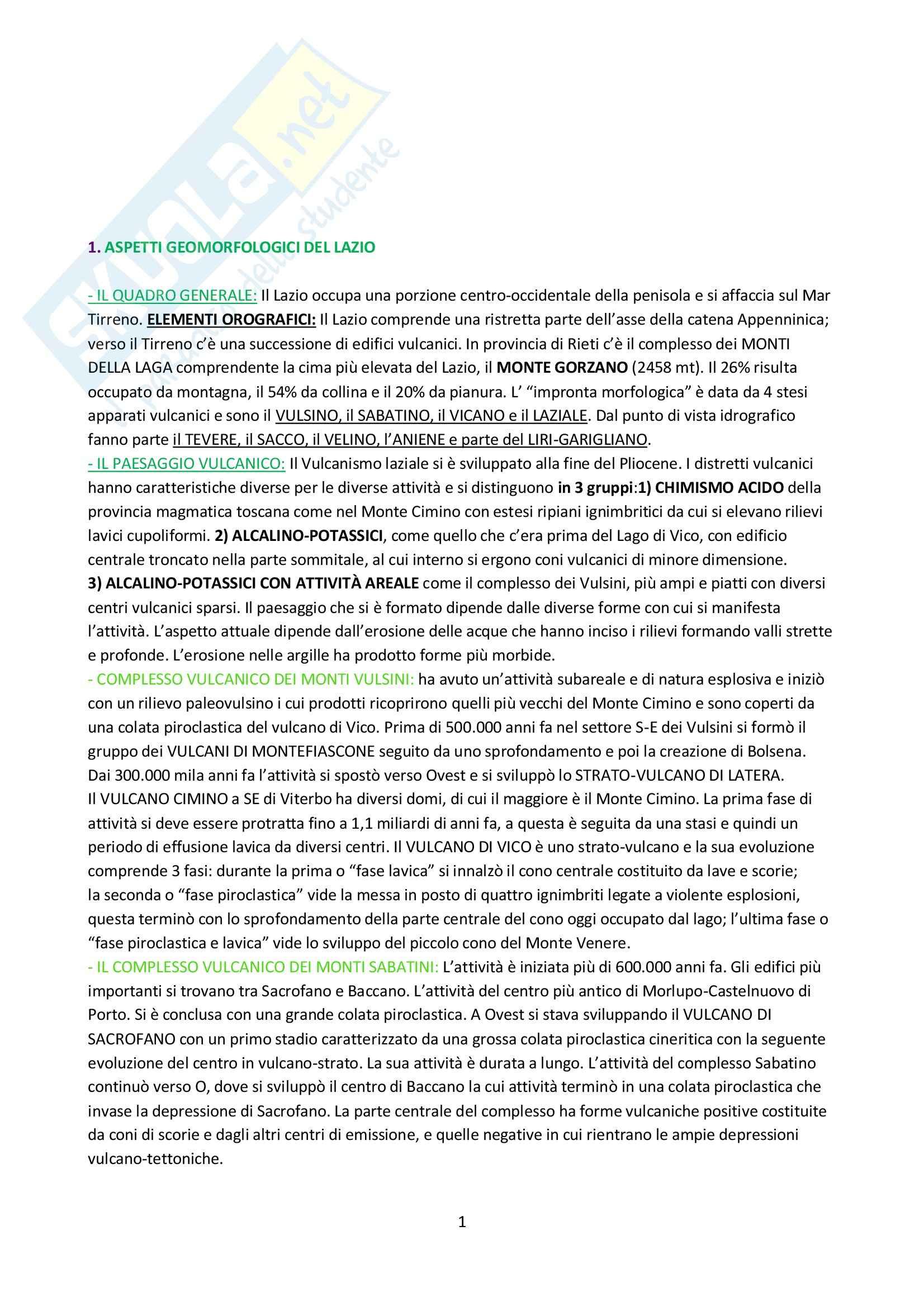 Riassunto esame Geografia, prof. De Vecchis, libro consigliato Per una Geografia del Lazio