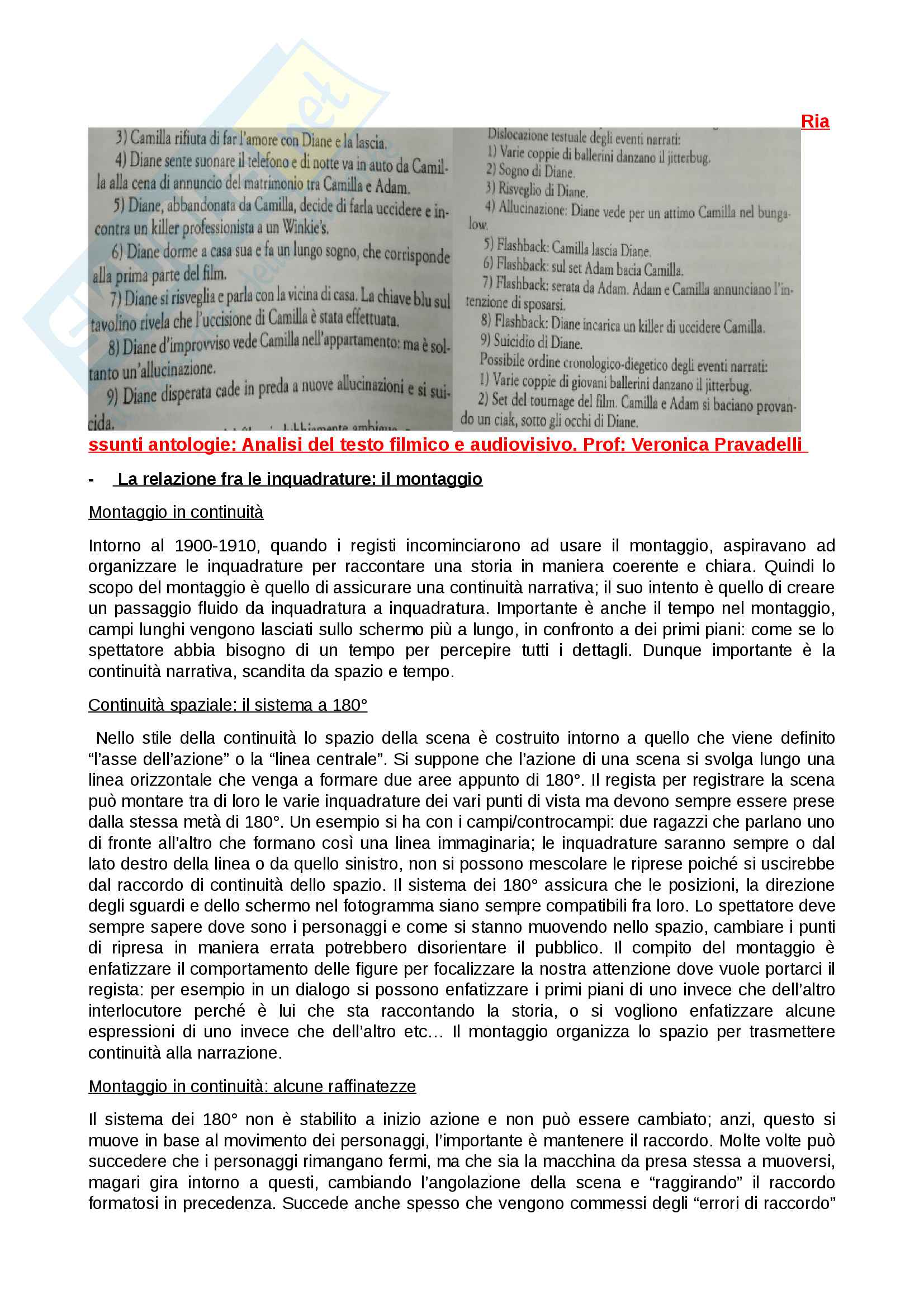 Riassunto esame Analisi del testo filmico e audiovisivo, prof. Pravadelli, libro consigliato Antologie della professoressa