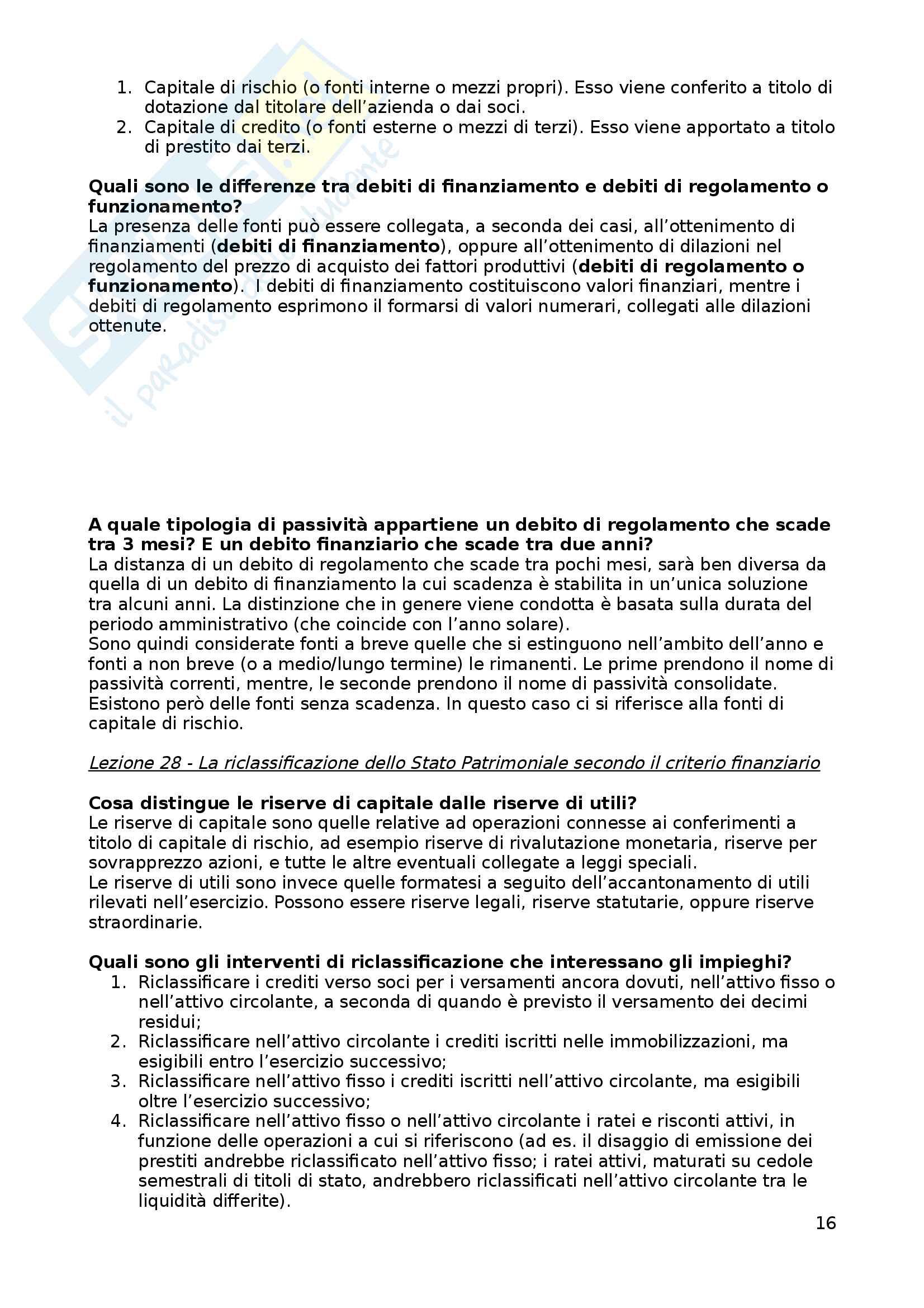 Analisi di bilancio: domande esame Pag. 16
