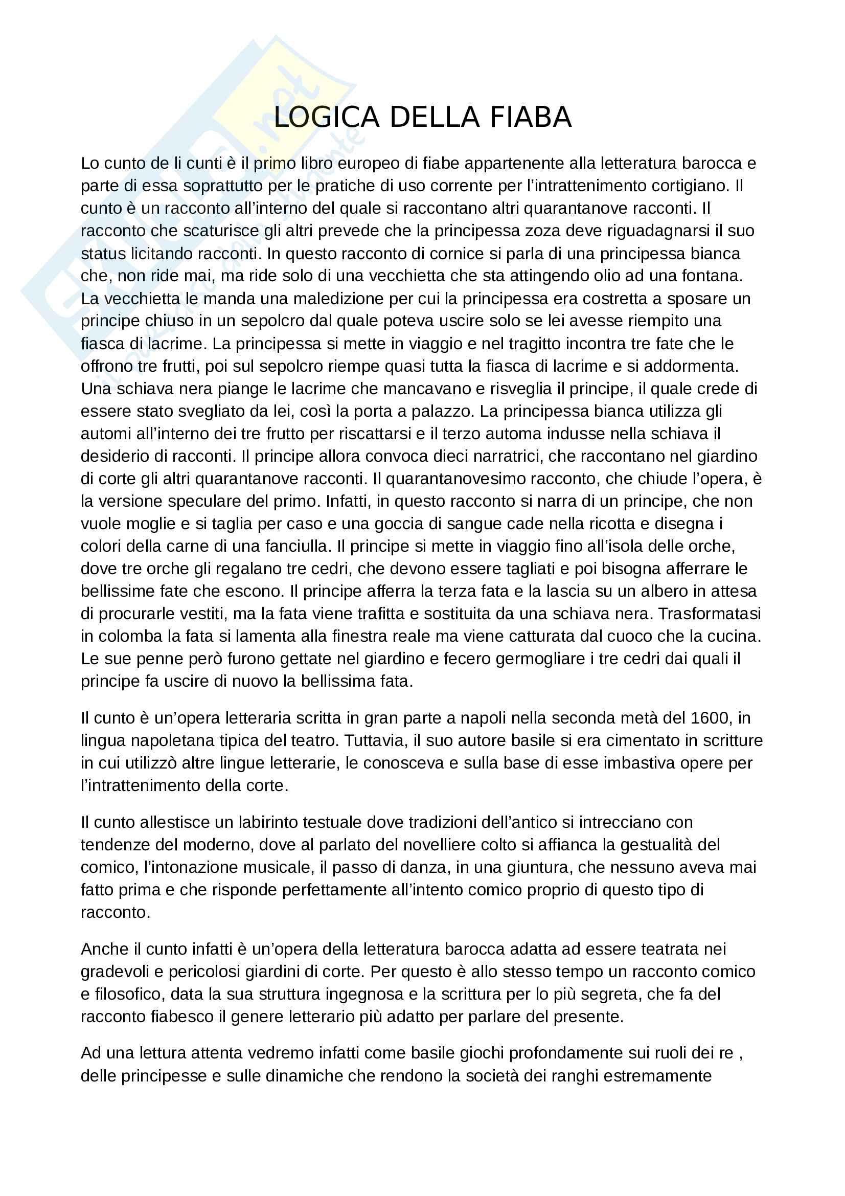 Riassunto esame di Letteratura Italiana, prof. Scrivano, libro consigliato La logica della fiaba, Rak