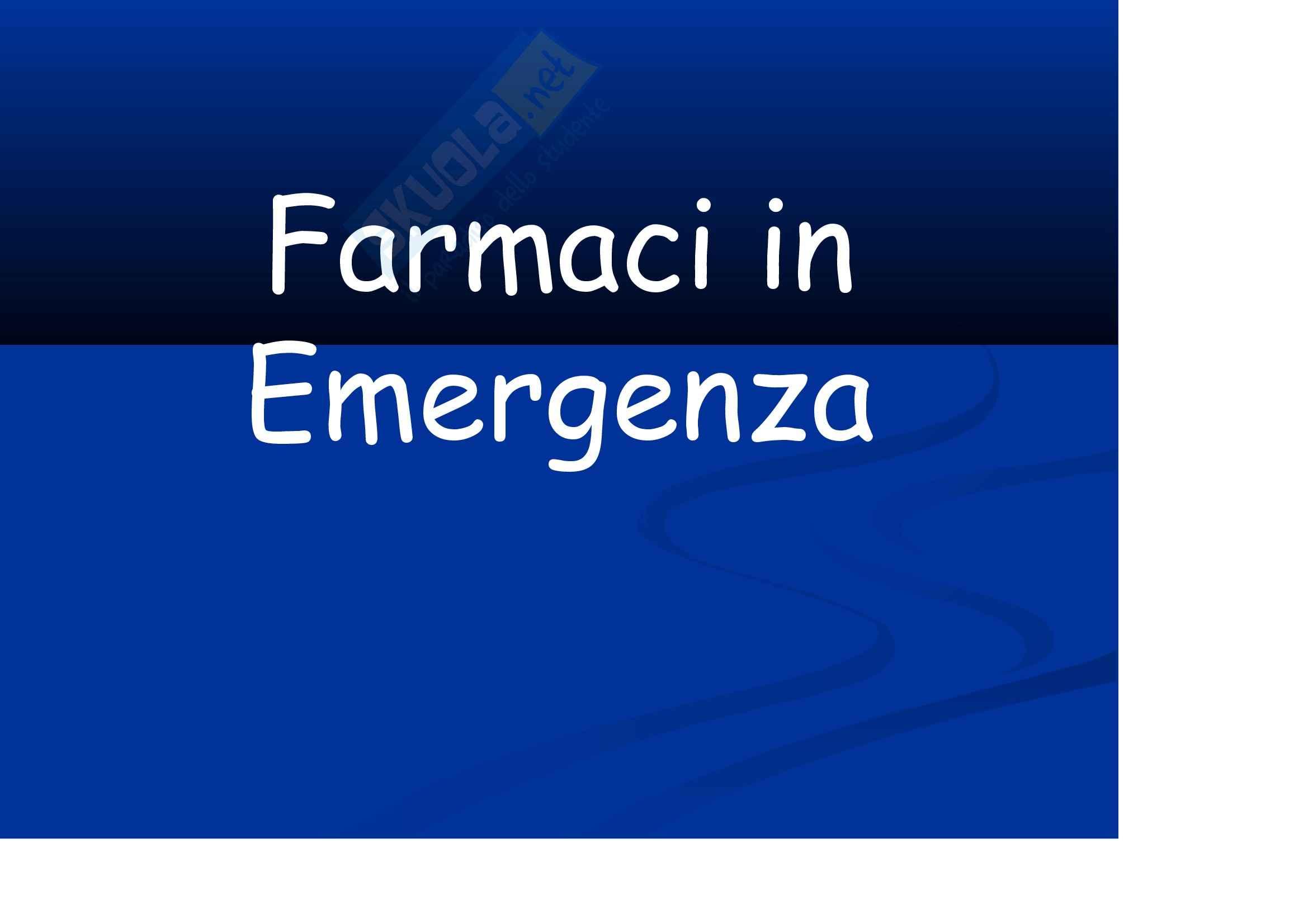 Anestesia - i farmaci d'emergenza