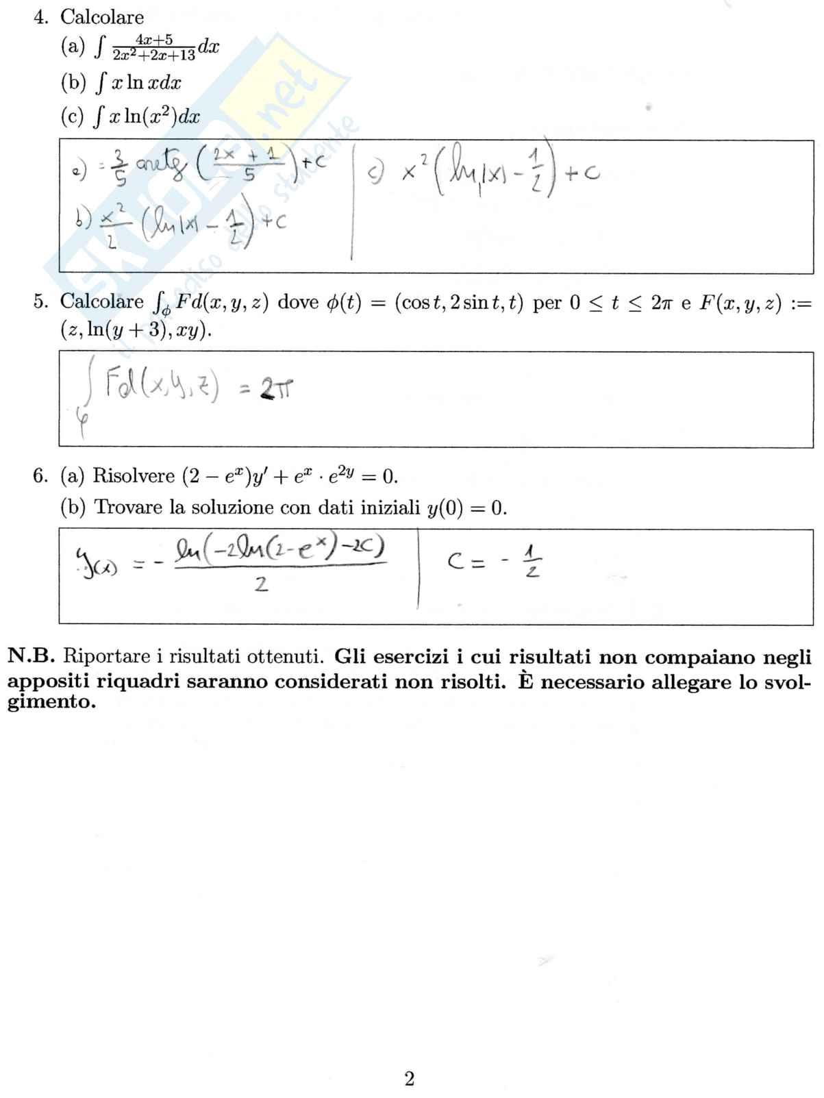 Esercizi analisi Pag. 2