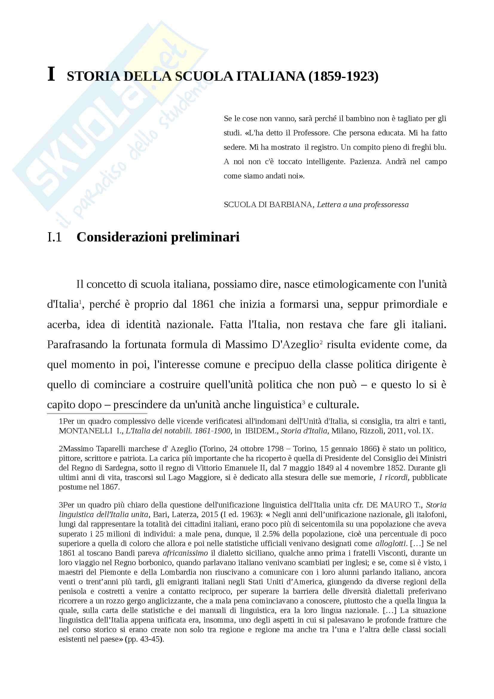 Storia della scuola italiana (legge Casati, Riforma Gentile)