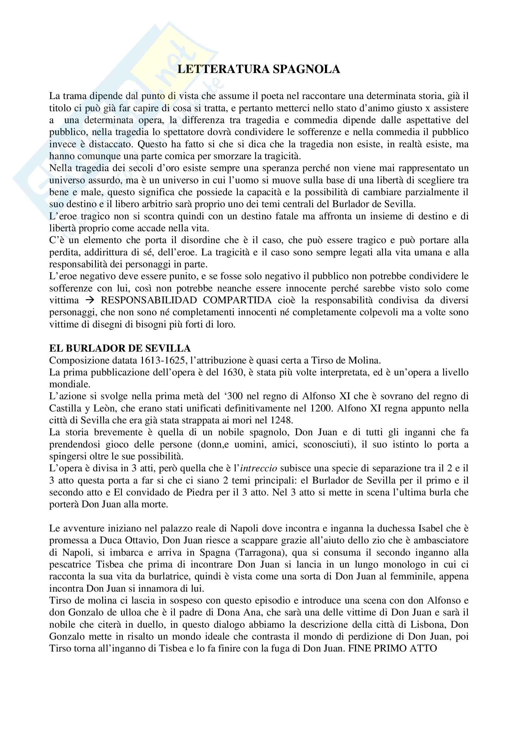 Riassunto esame Letteratura spagnola, prof. Crippa, libro consigliato El Burlador de Sevilla