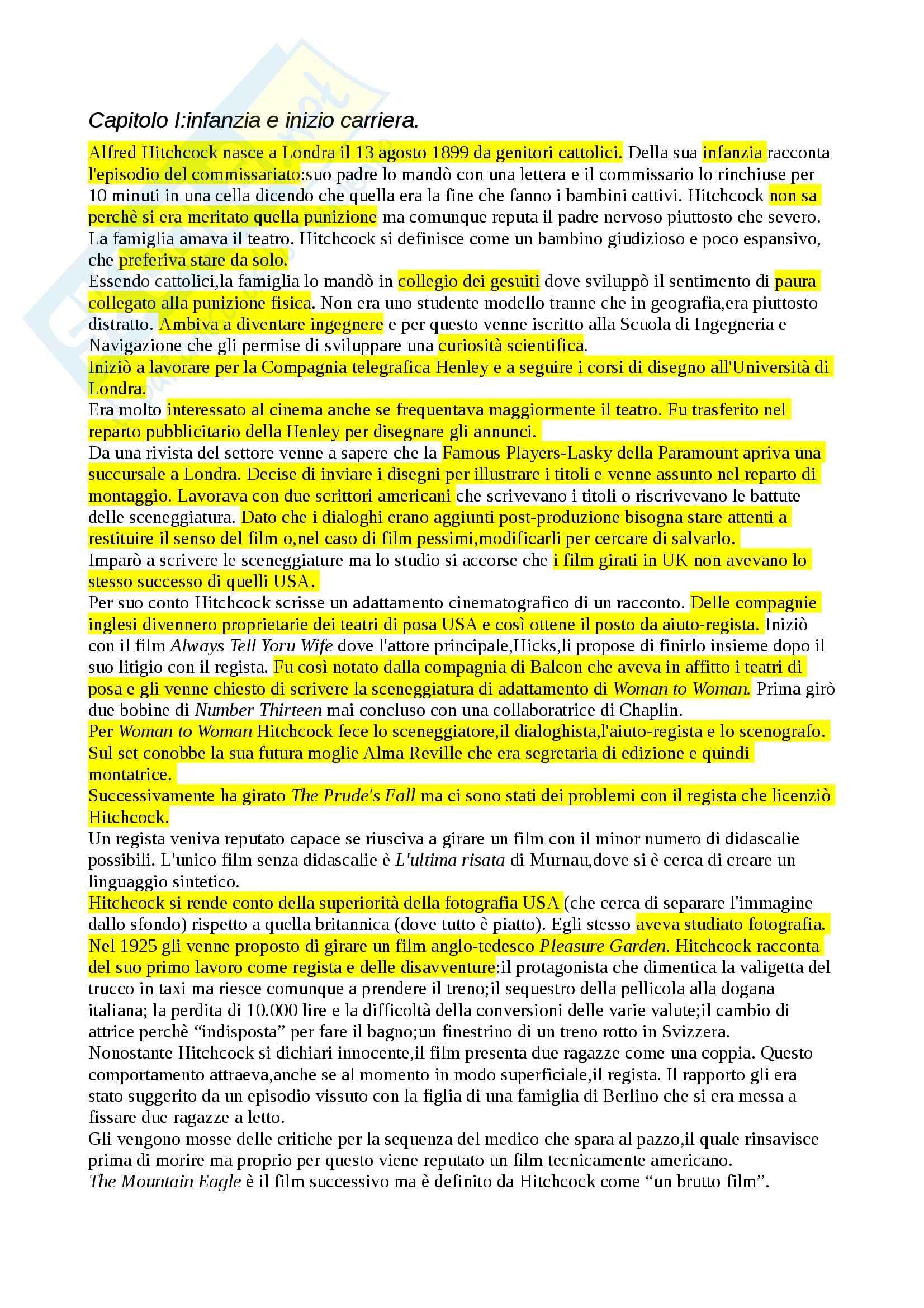 Riassunto esame Teoria e analisi del linguaggio cinematografico,, prof. Dagrada, libro consigliato Il cinema secondo Hitchcock, Truffaut