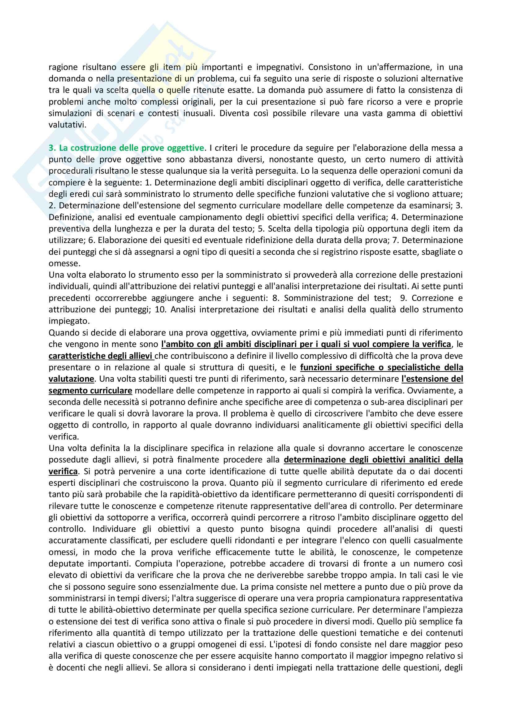 Riassunto esame Didattica Generale - Docimologia, libro consigliato Manuale della Valutazione Scolastica, Dominici Pag. 11