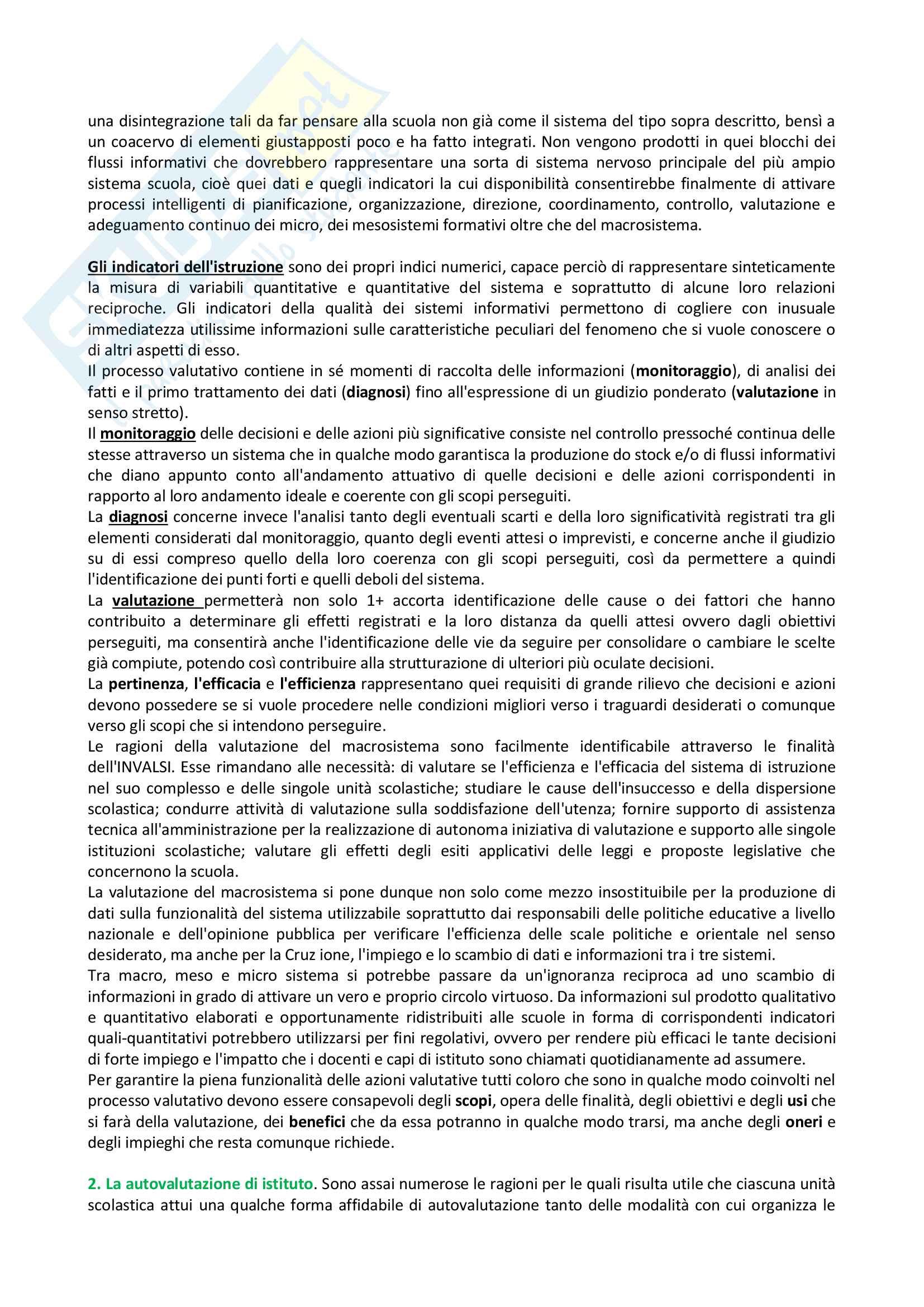 Riassunto esame Didattica Generale - Docimologia, libro consigliato Manuale della Valutazione Scolastica, Dominici Pag. 2