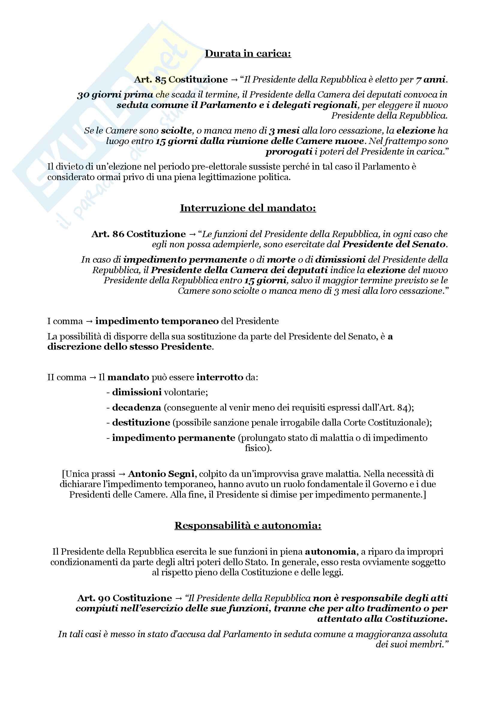 Schemi riassuntivi di istituzioni di diritto pubblico (libro di riferimento: Diritto costituzionale e pubblico, Carretti, De Siervo) Pag. 26