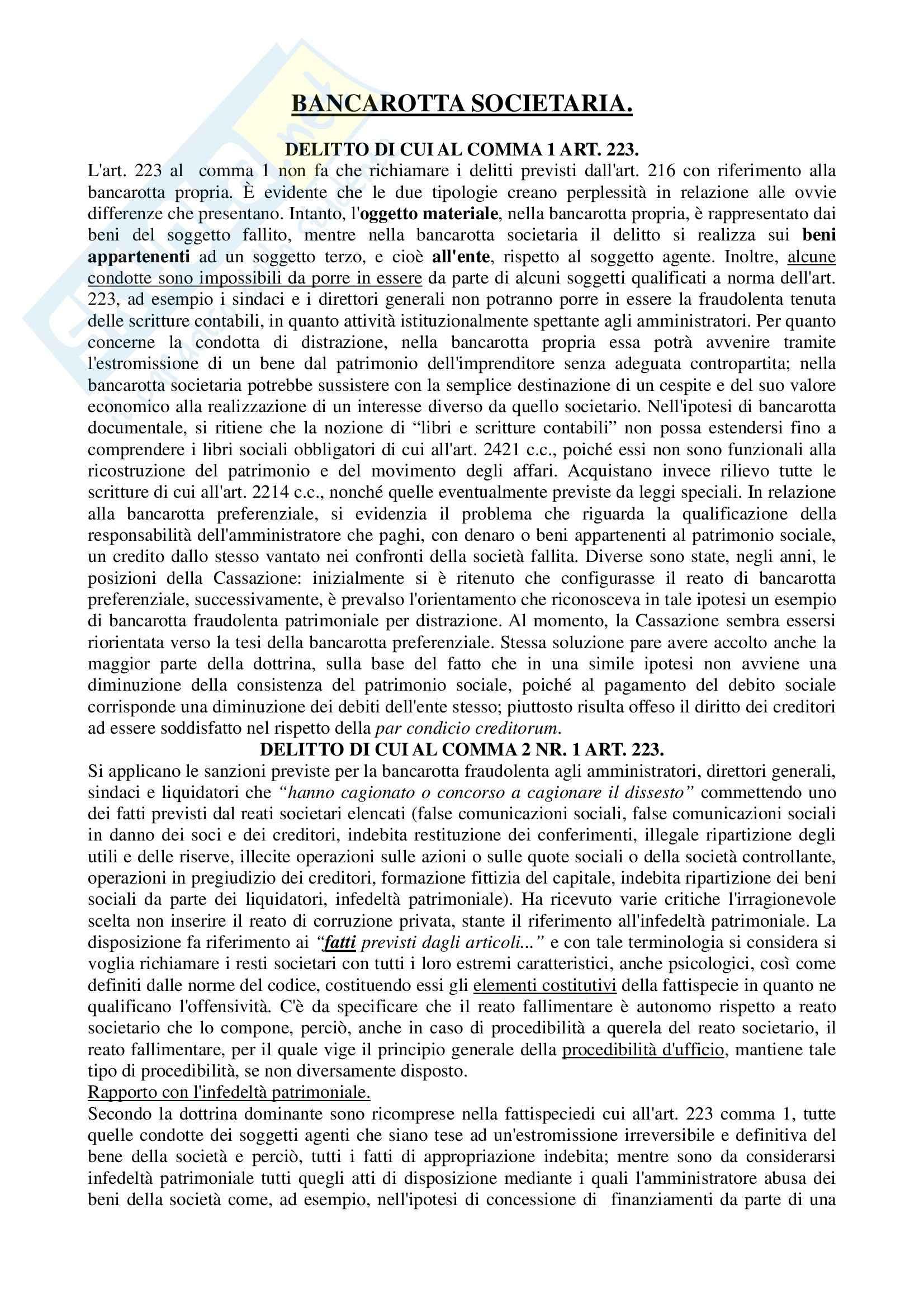 Diritto penale dell'economia. Problemi e casi, Mazzacuva, Amati - la bancarotta societaria