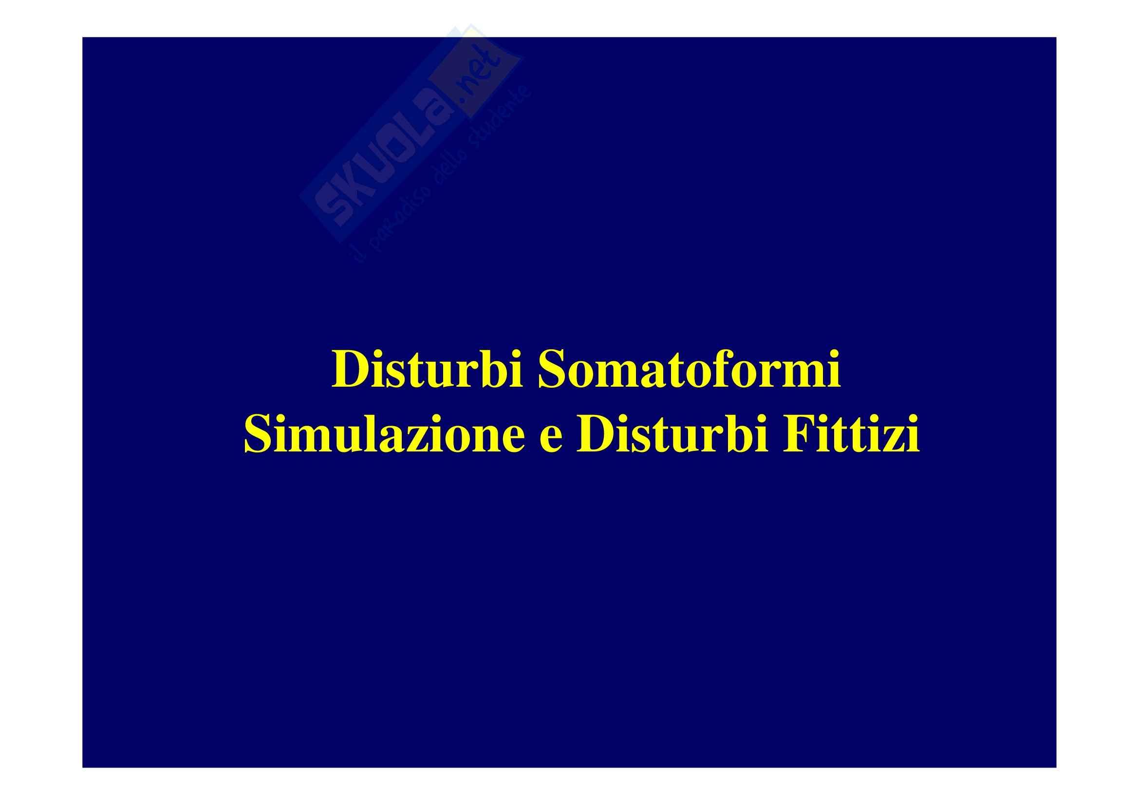 Scienze psichiatriche - Disturbi Somatoformi