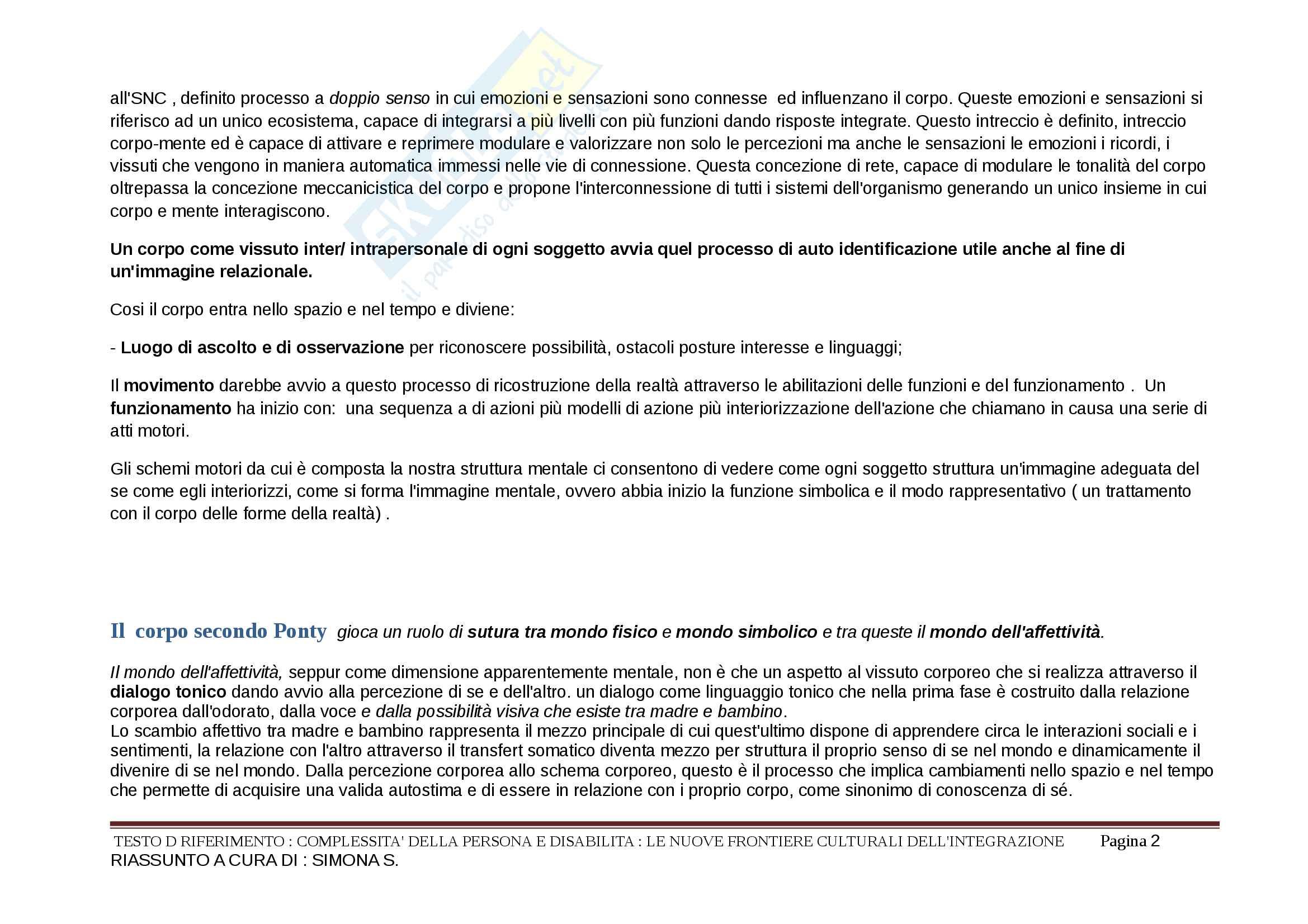 Riassunto esame Didattica speciale, prof. Murdaca, libro consigliato Complessità della persona e disabilità,La motricità nella disabilità Pag. 2