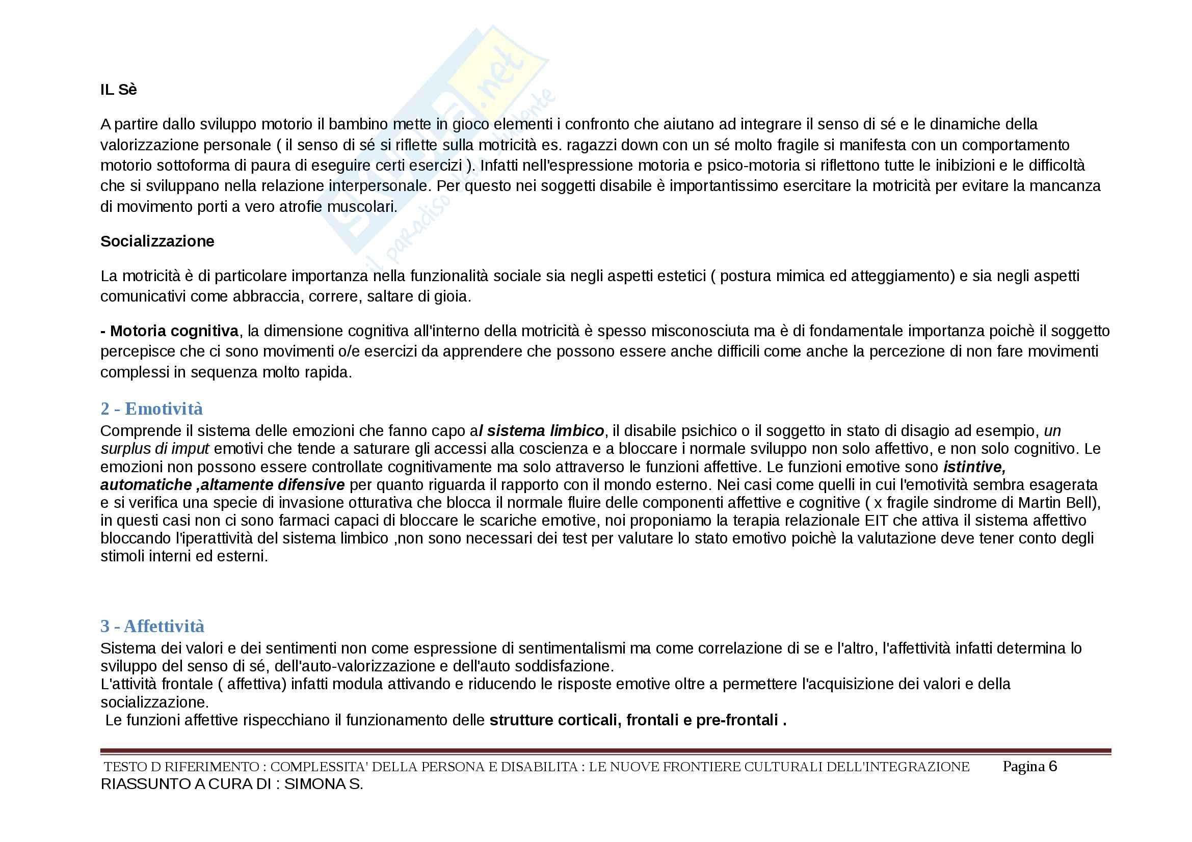 Riassunto esame Didattica speciale, prof. Murdaca, libro consigliato Complessità della persona e disabilità,La motricità nella disabilità Pag. 6