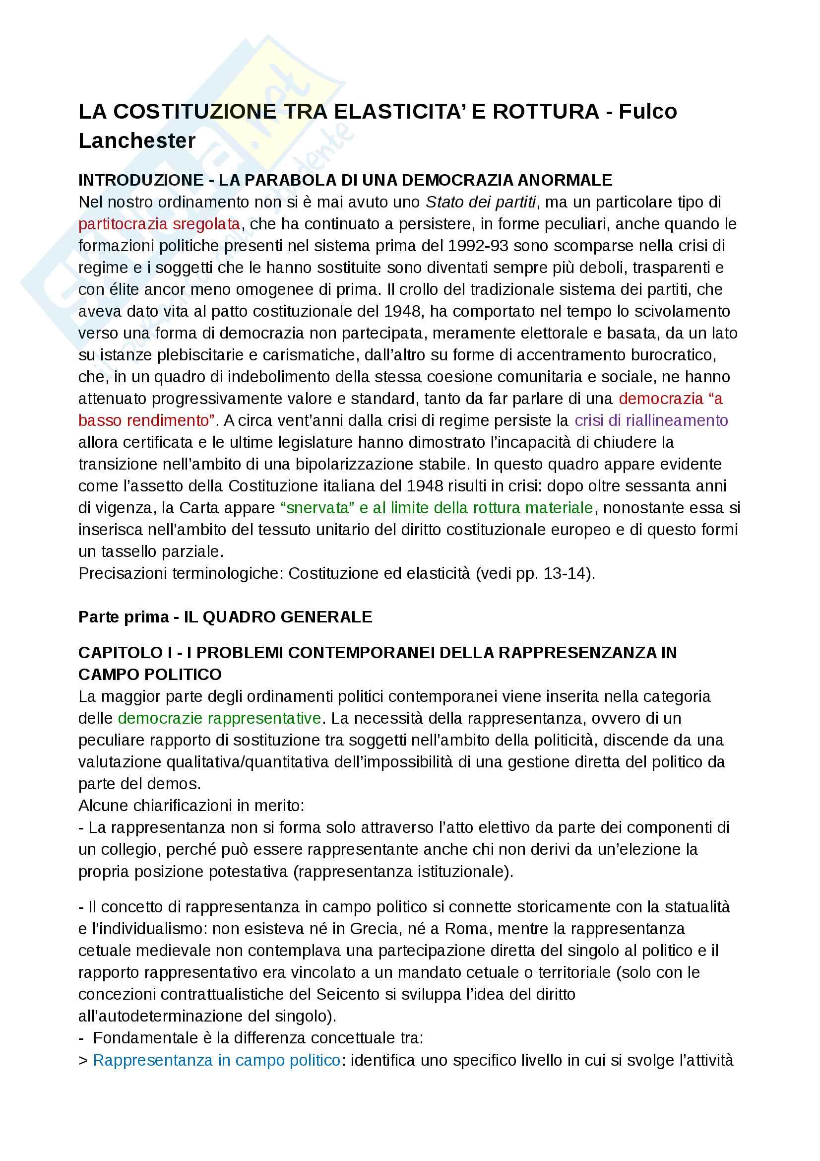 Riassunto esame Diritto pubblico italiano e comparato, docente Lanchester, libro consigliato La Costituzione tra elasticità e rottura, Fulco Lanchester