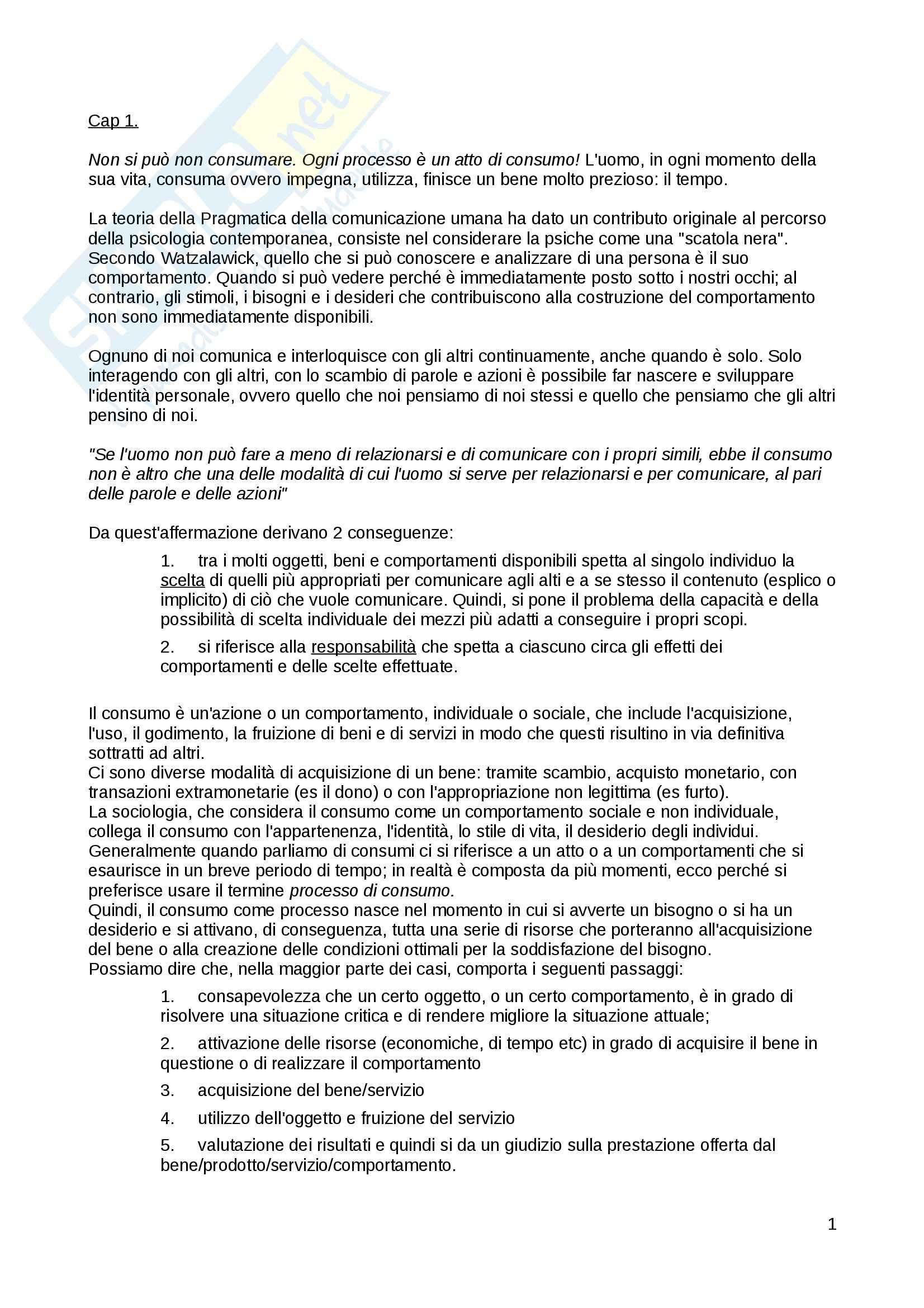 Riassunto esame Sociologia dei consumi, prof. Piccoli, libro consigliato I bisogni, i desideri, i sogni: Una analisi, Piccoli