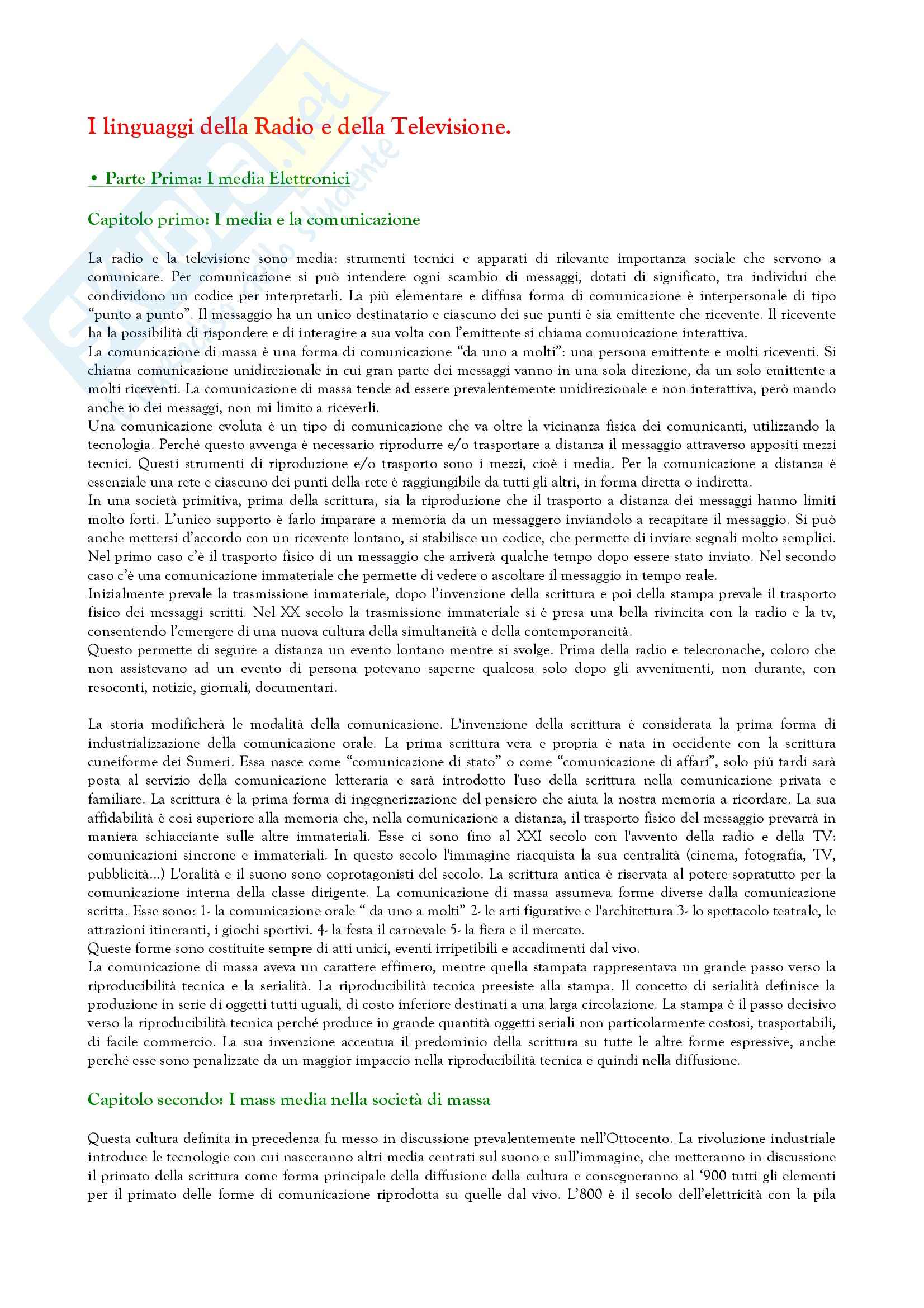 Riassunto esame Culture e formati della televisione e della radio, prof. Menduni, libro consigliato I linguaggi della televisione e della radio, Menduni
