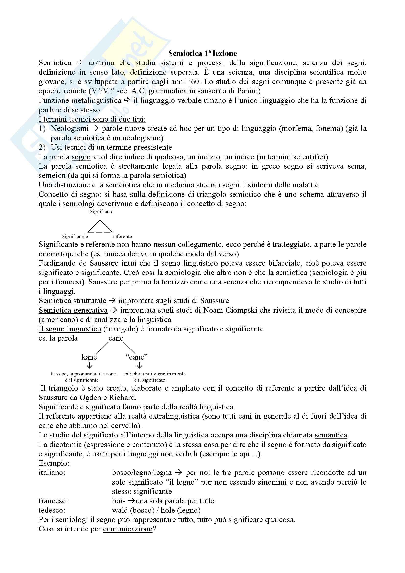 Semiotica - appunti lezioni significato significante, saussure, peirce, quadrato semiotico