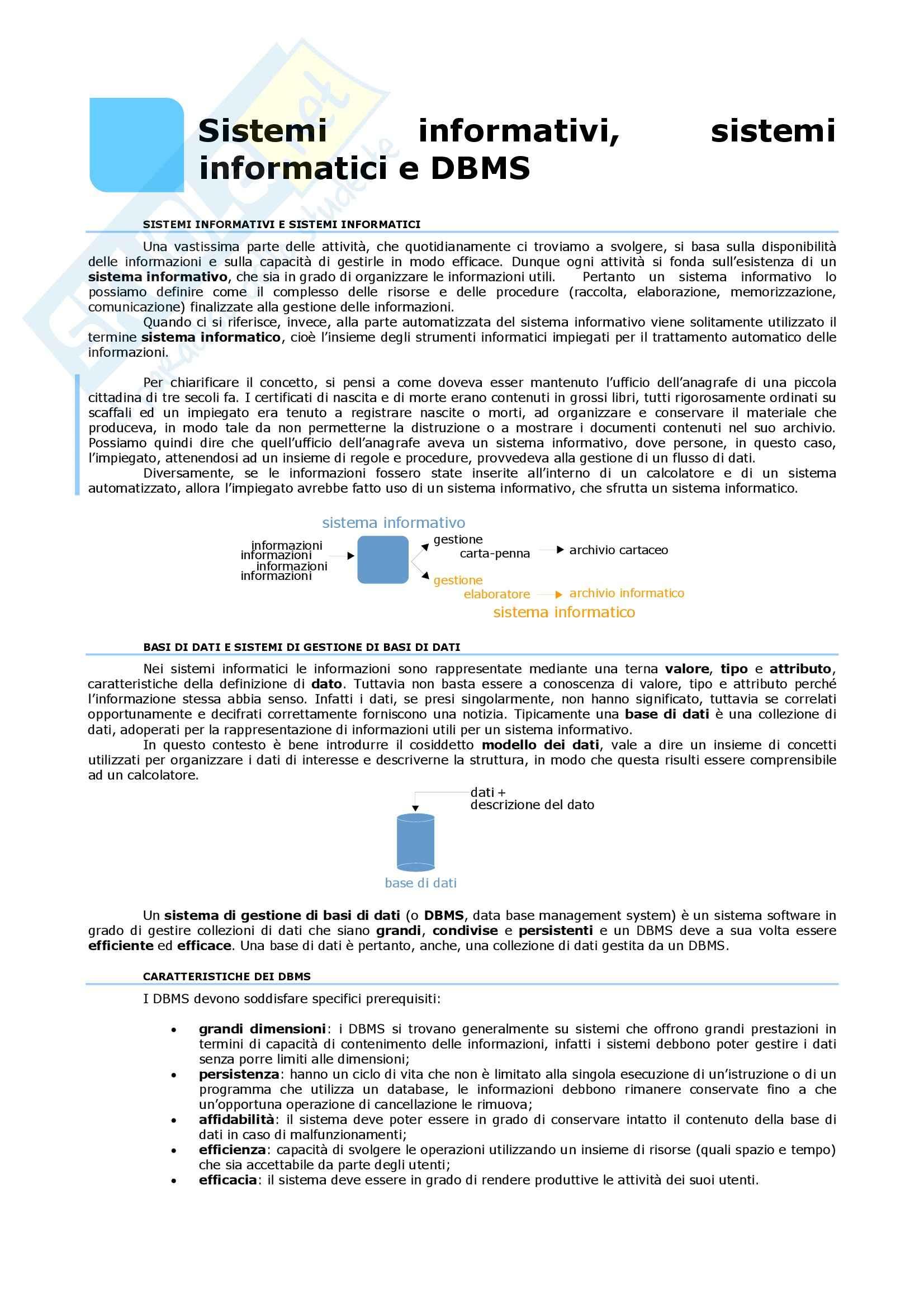 Basi di dati - i sistemi informativi e informatici
