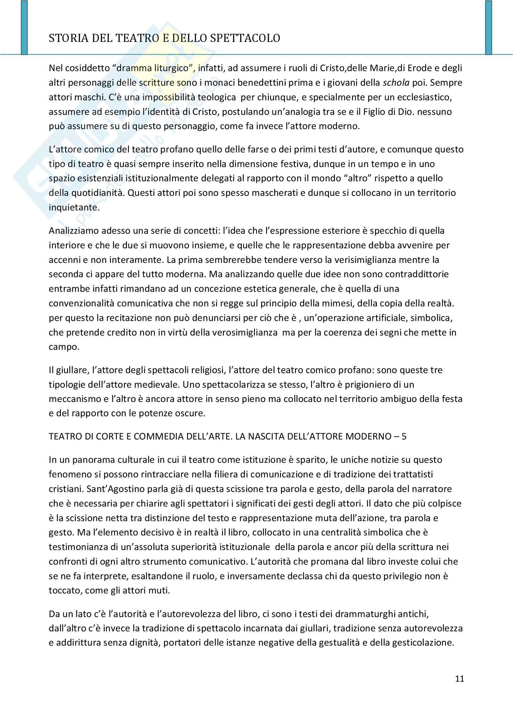 Riassunto esame Storia del teatro e dello spettacolo, prof. Allegri, libro consigliato L'arte e il mestiere, Luigi Allegri Pag. 11