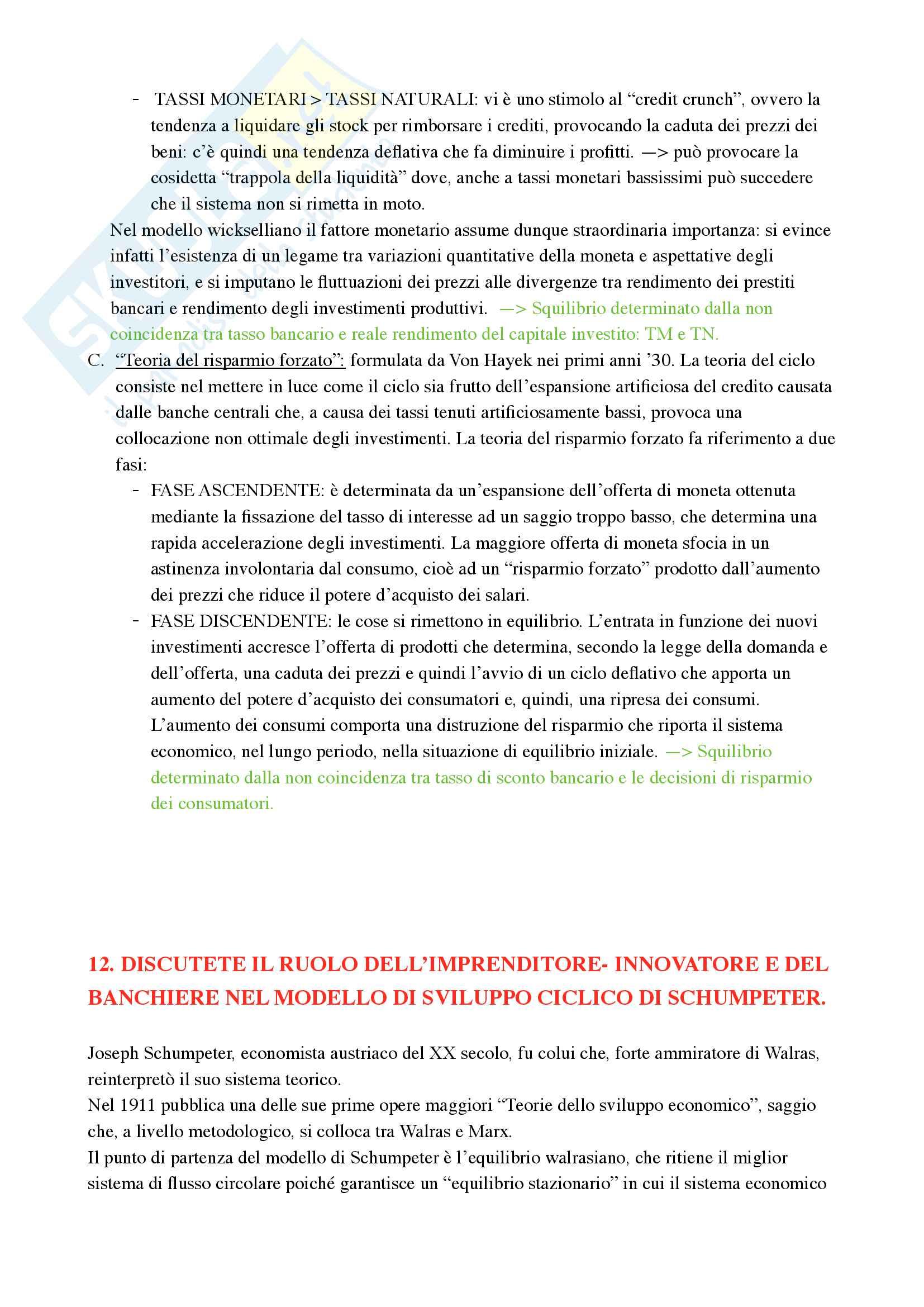 Storia del pensiero economico - Domande e risposte d'esame II parziale - Prof. Fornasari Massimo - Voto 30 Pag. 16