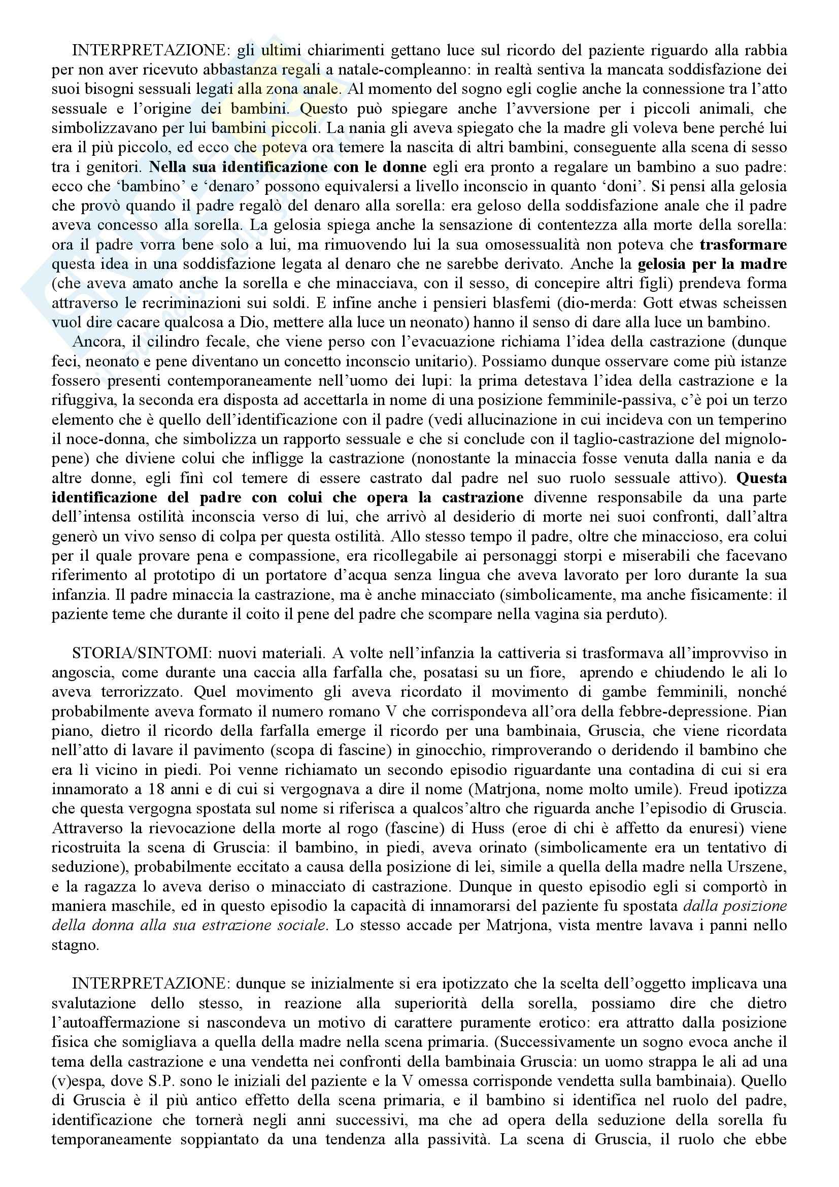 Il caso clinico dell'uomo dei lupi, Freud - Riassunto del libro Pag. 6