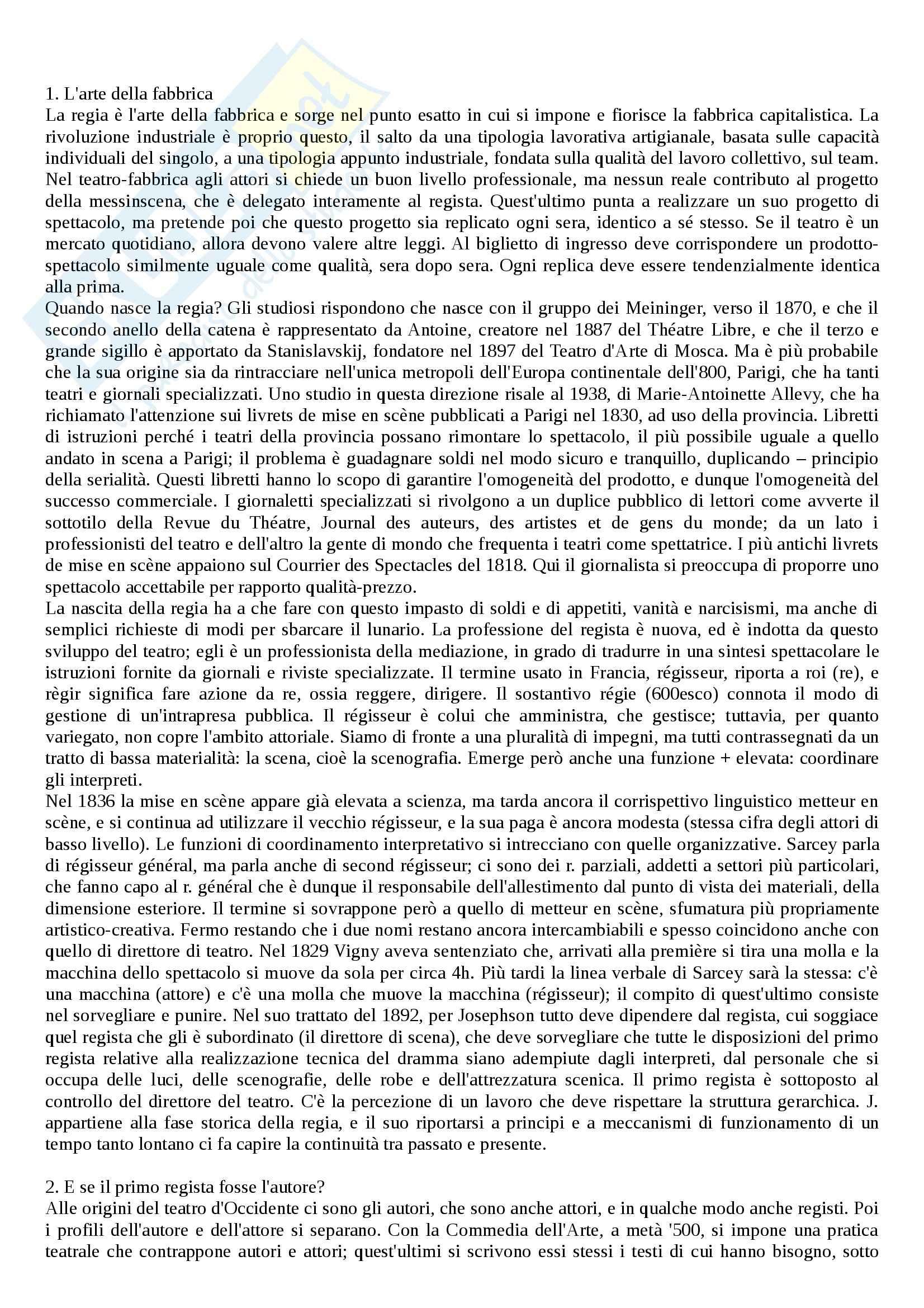 Riassunto esame Storia del teatro contemporaneo, prof. Megale, libro consigliato Il teatro dei registi, Alonge