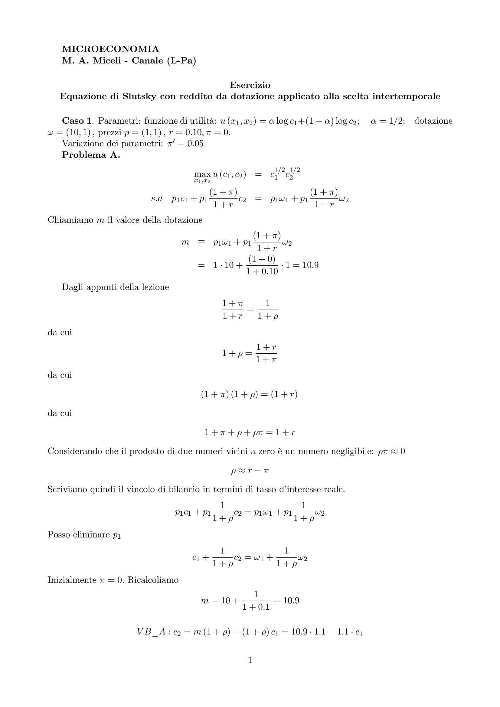 esercitazione M. Miceli Microeconomia I