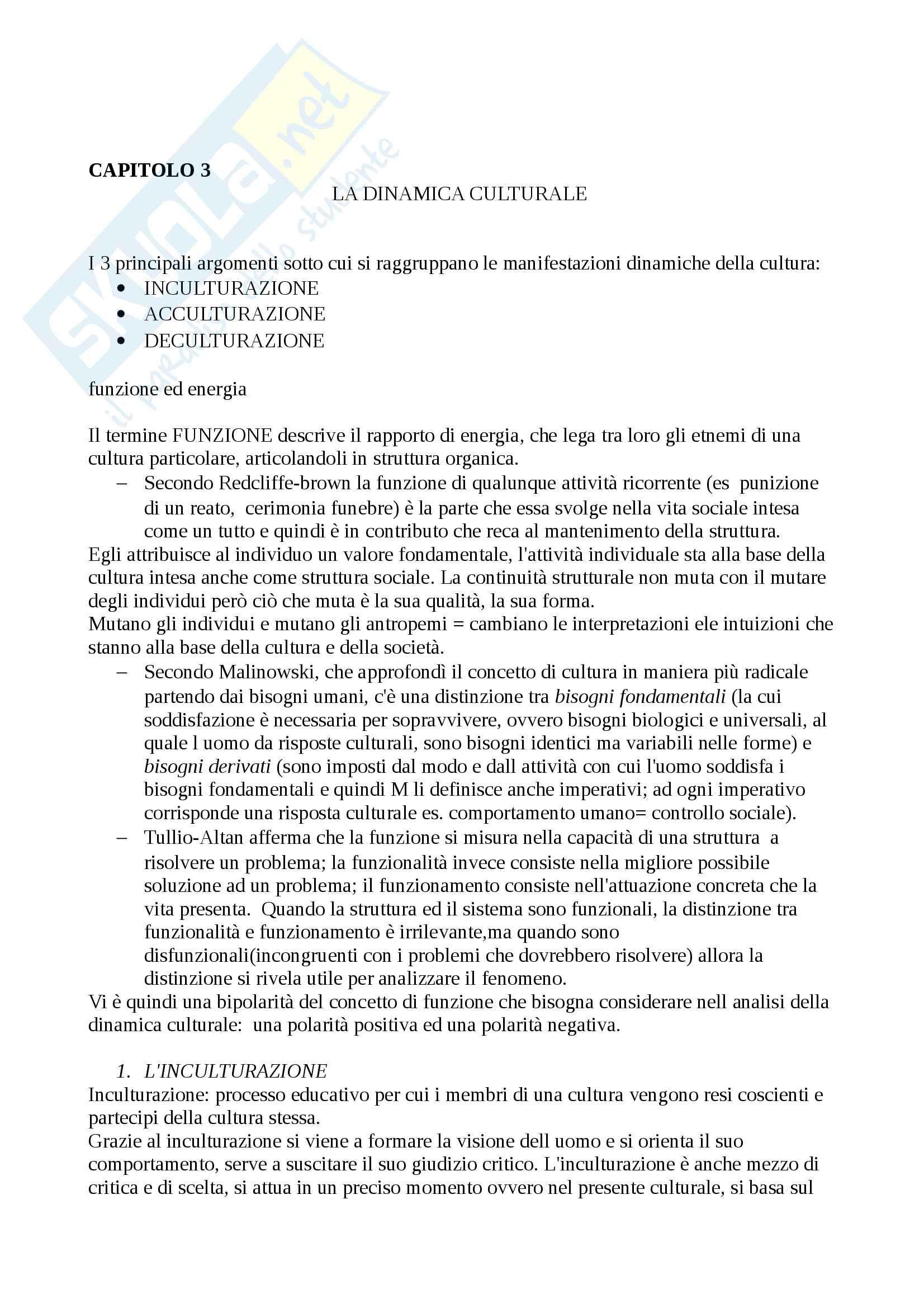 Riassunto esame Antropologia culturale, docente prof. Palmisano, libro consigliato Uomo,cultura, società, Bernardo Bernardi Pag. 11